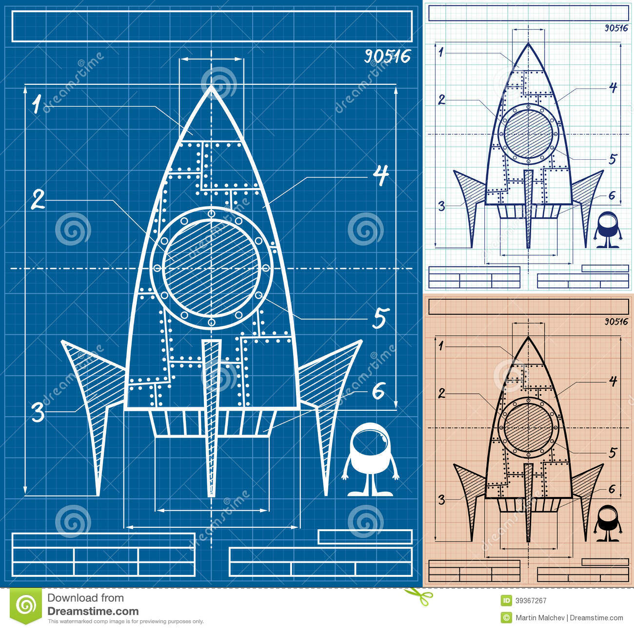 rocket blueprint cartoon stock vector illustration of