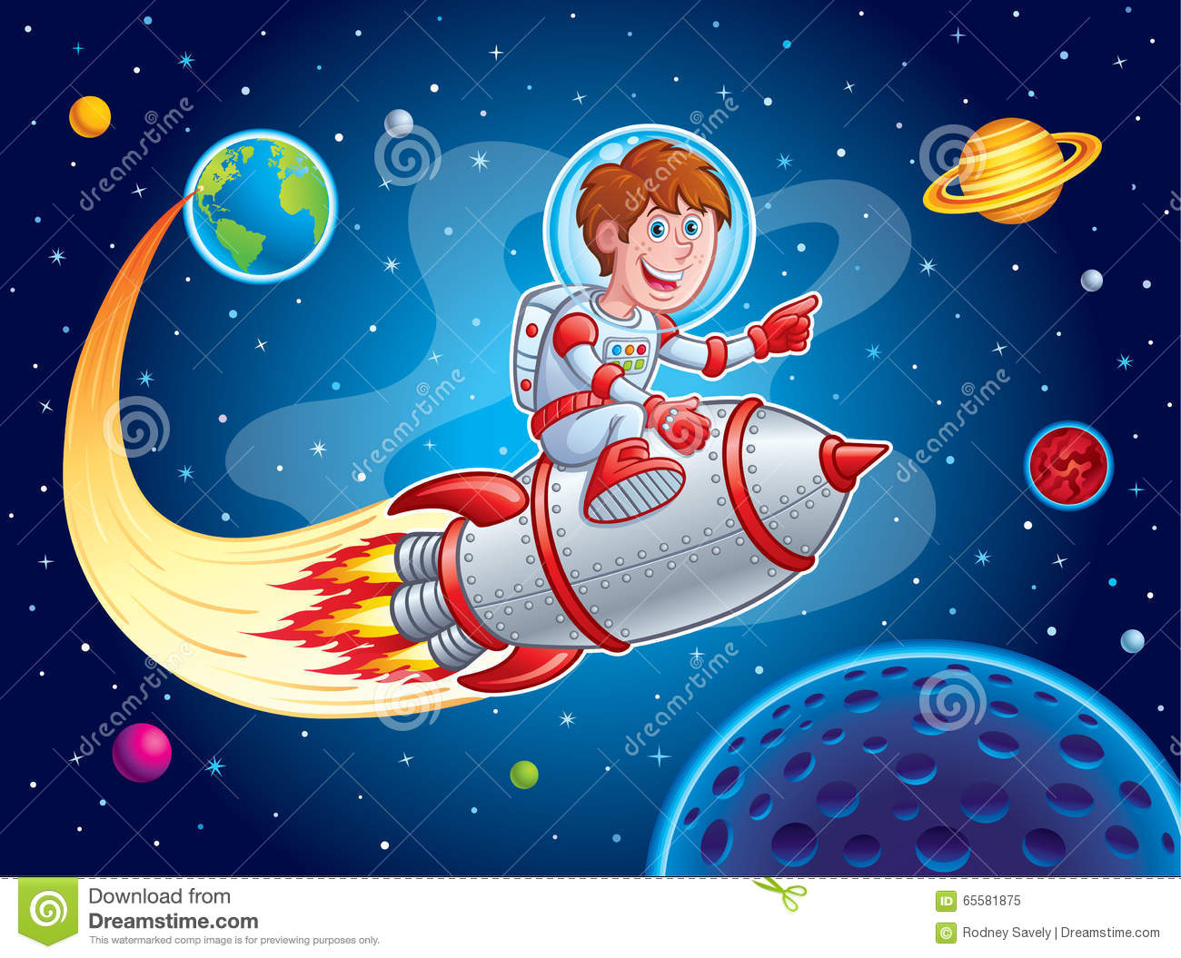 Rocket Boy Blasting From Earth To Outer Space Stock