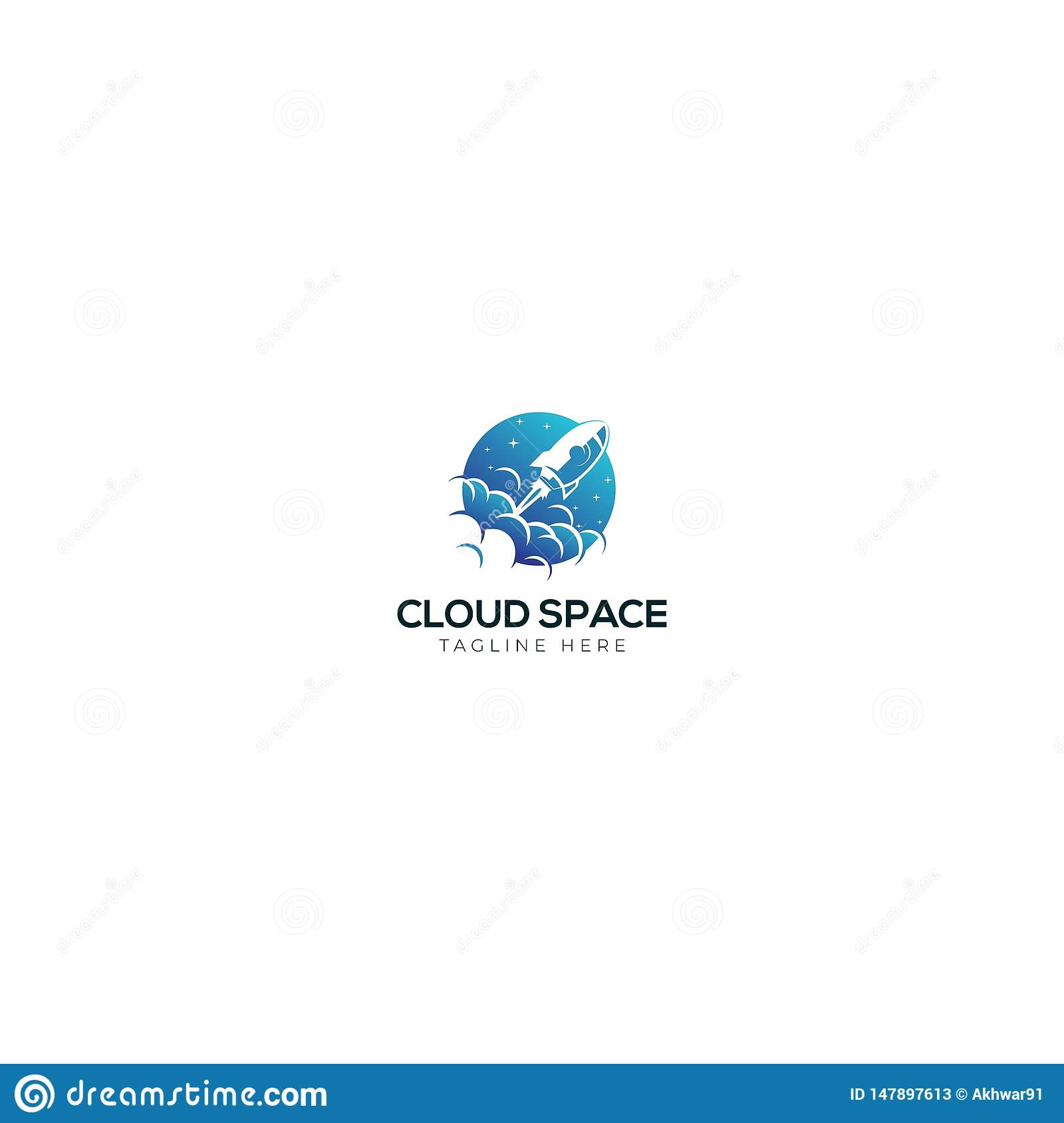 Rocket And Cloud Space logo Design