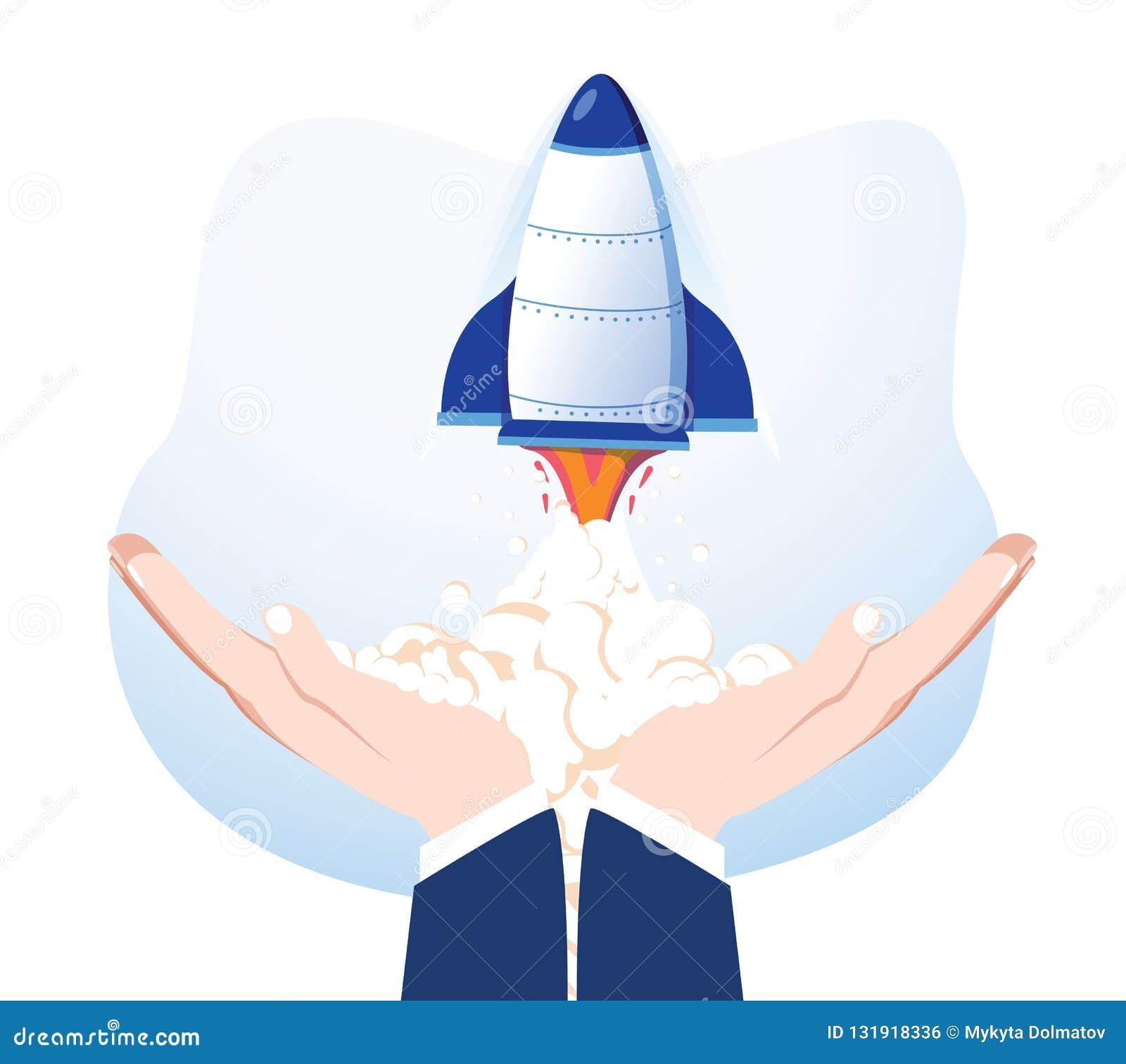 Rocket en las manos aisladas en fondo Nave espacial del lanzamiento Producto de lanzamiento del negocio, desarrollo de proyecto E
