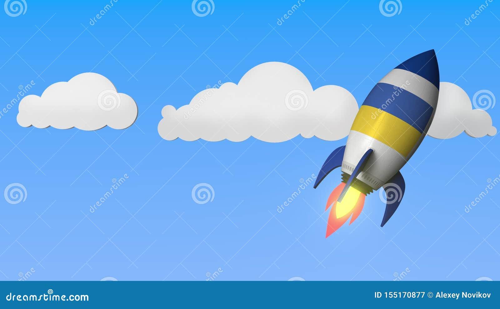 Rocket with flag of Ukraine flies in the sky. Ukrainian success or space program related 3D rendering