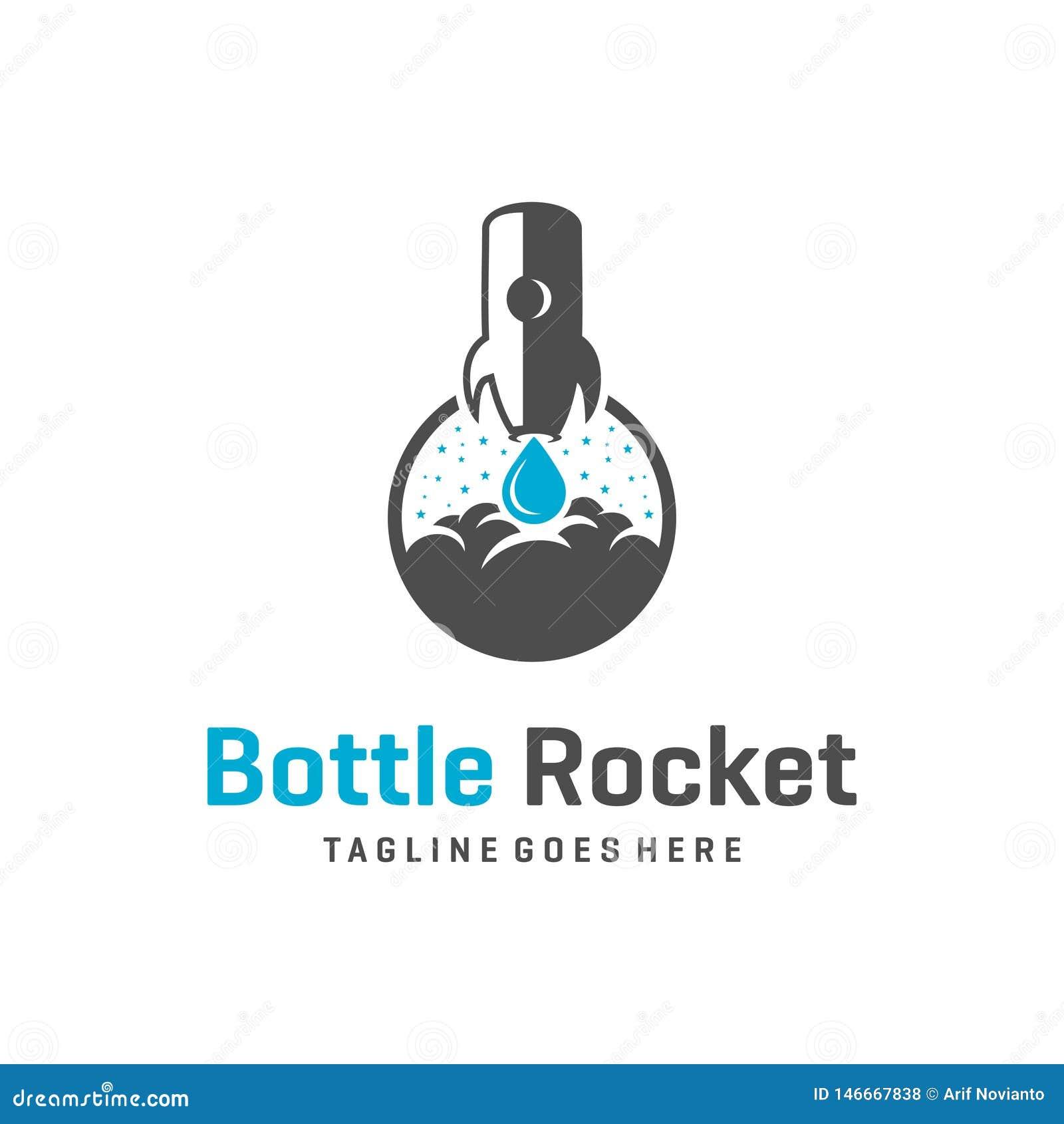 Rocket-Flaschenlogoentwurf