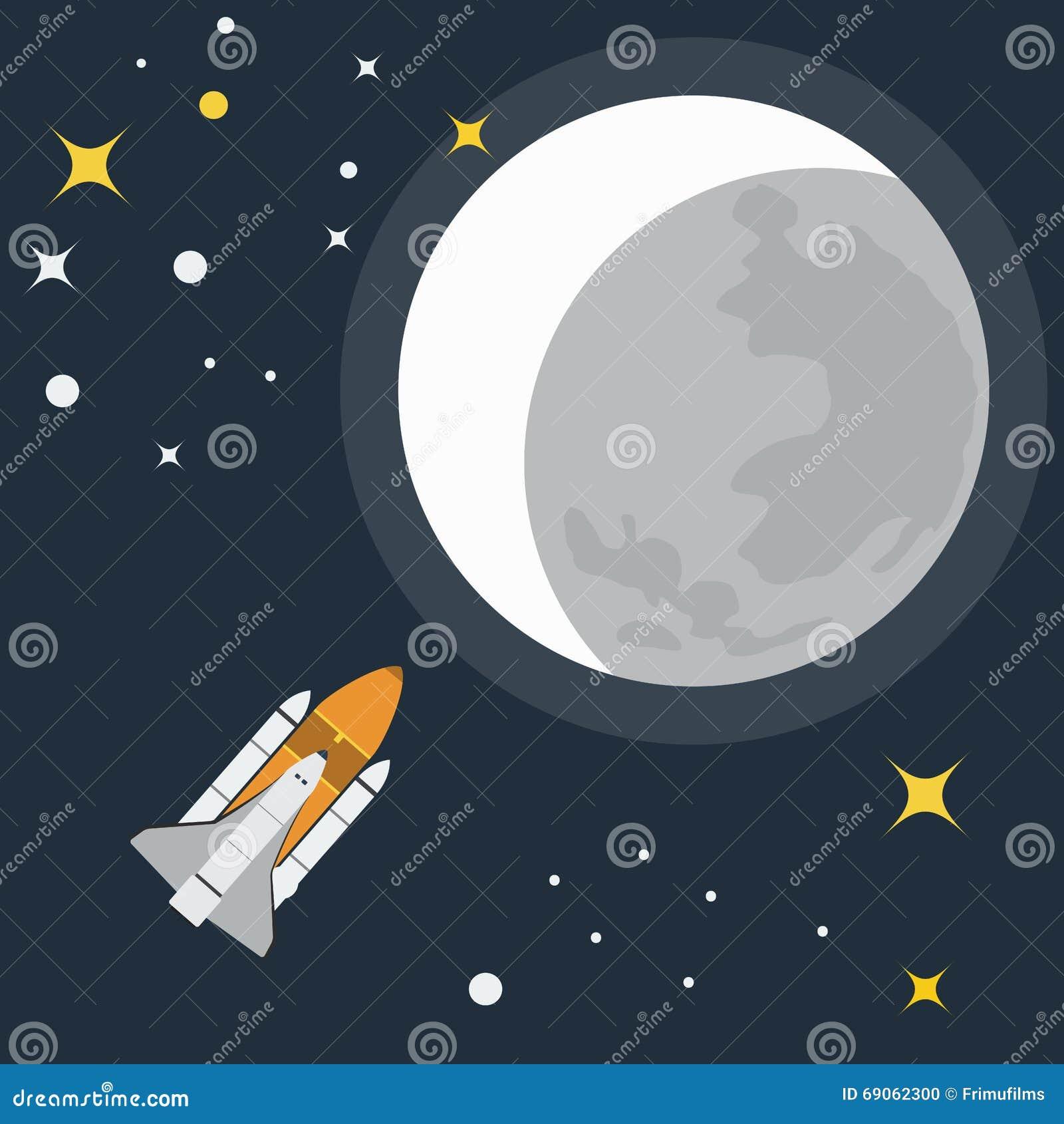 Rockets To The Moon: Rocket Flight To Moon Vector Illustration Stock Vector