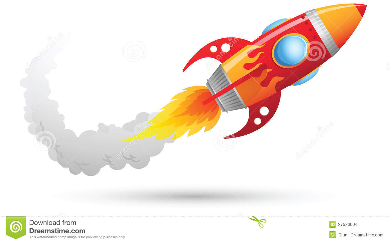 Illustration of Flying Rocket with smoke trail.