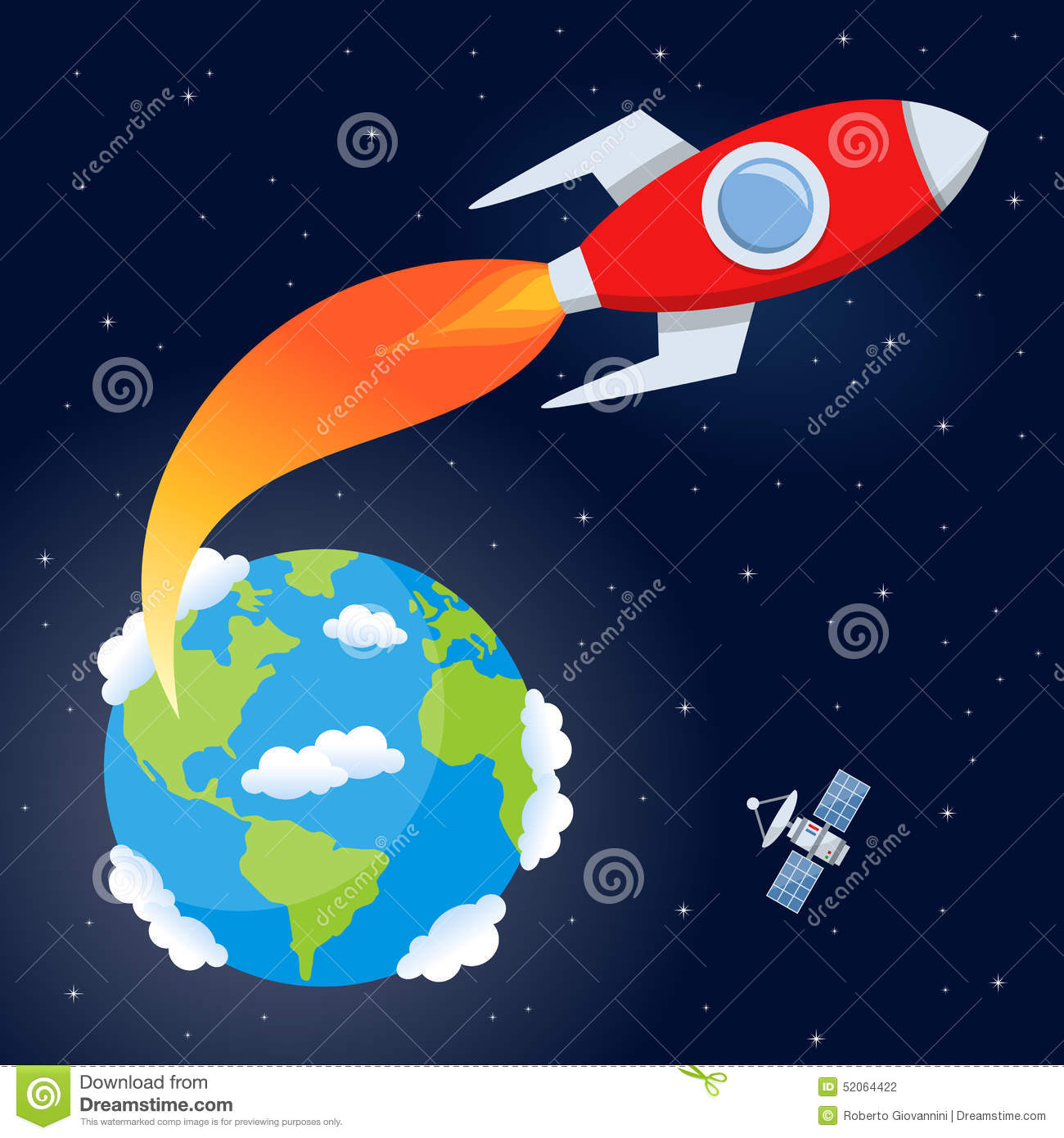 Rocket flying from earth to space stock vector for Flying spaces