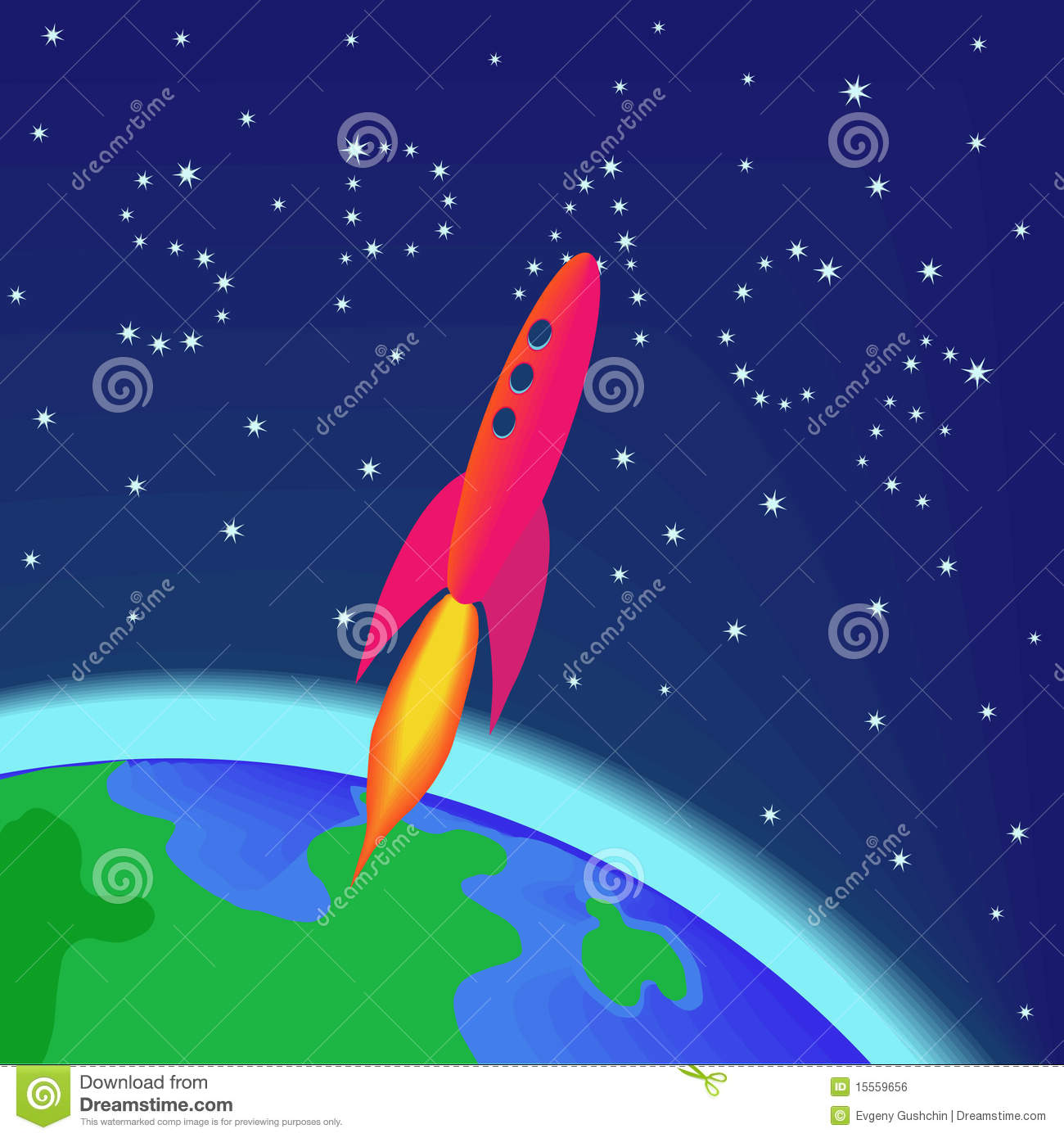 Rocket flying into space stock vector image of earth for Flying spaces