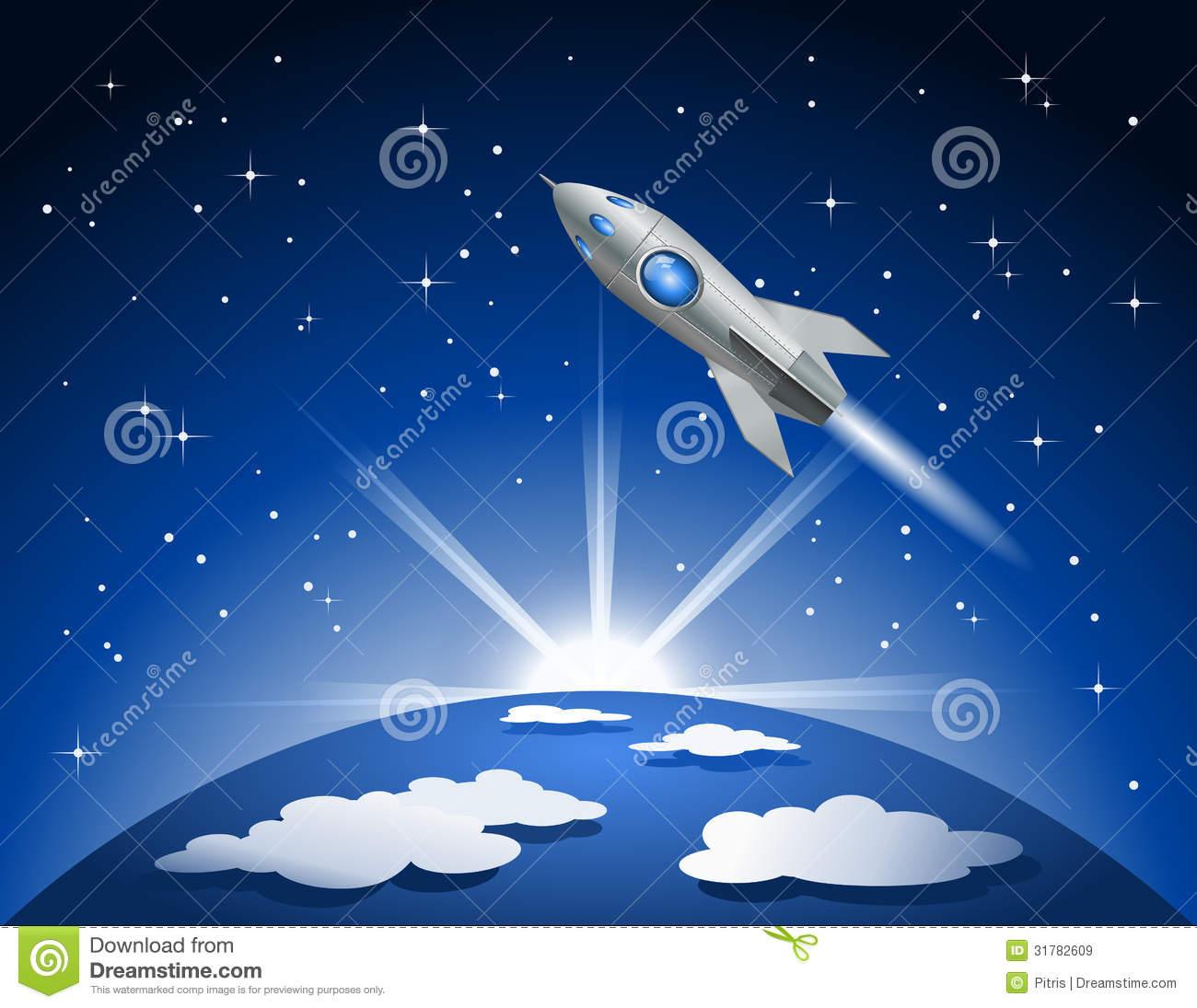 Rocket flying into space stock vector image of for Flying spaces