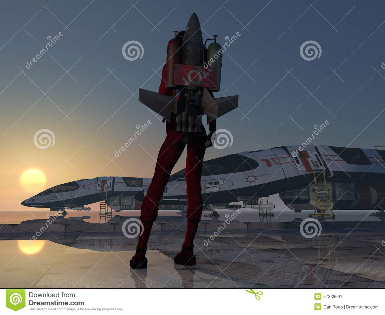 Rocket girl jet pack from behind at space station stock for Space station 13 3d