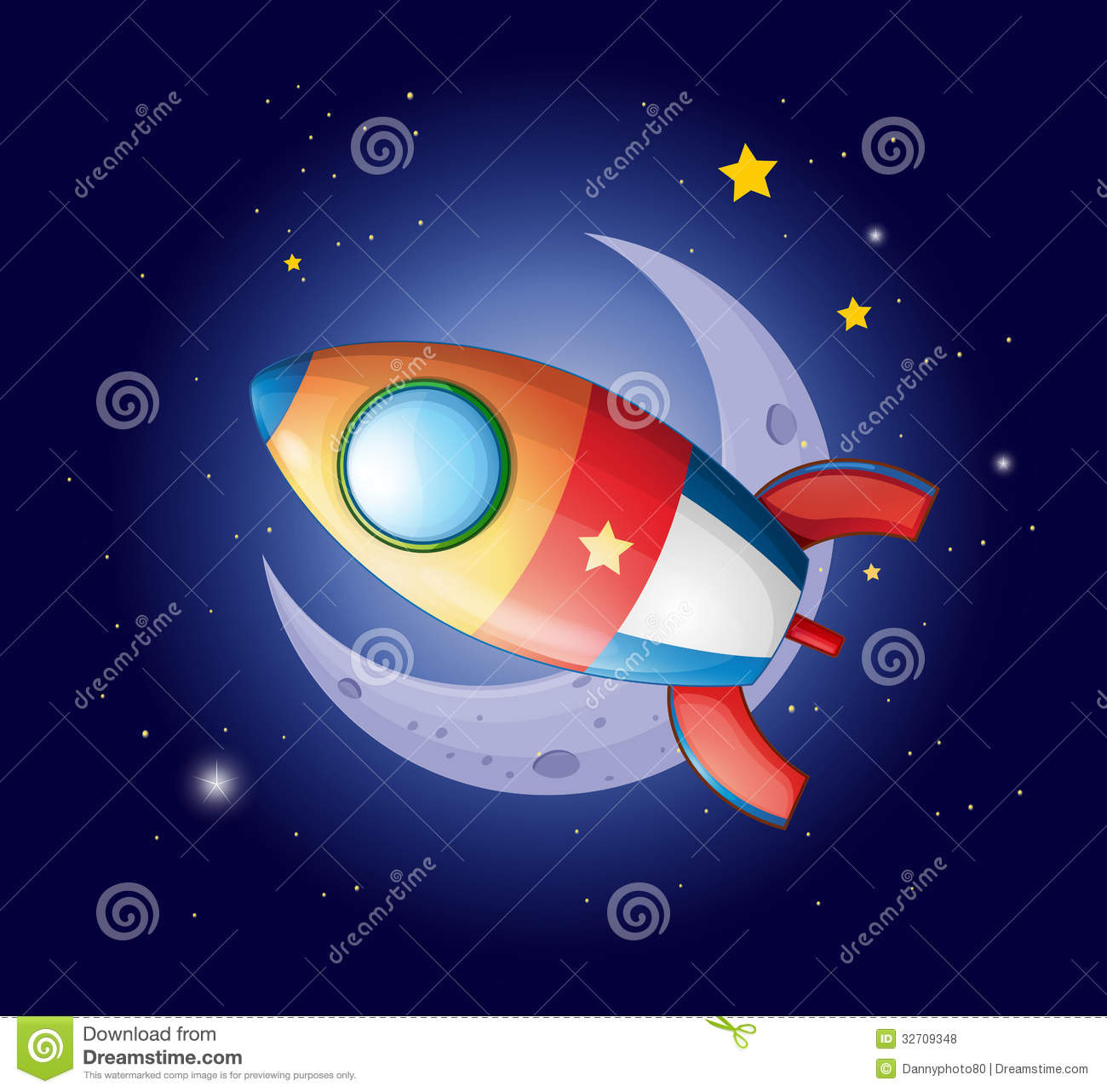 Rockets To The Moon: A Rocket Going To The Moon Royalty Free Stock Photos