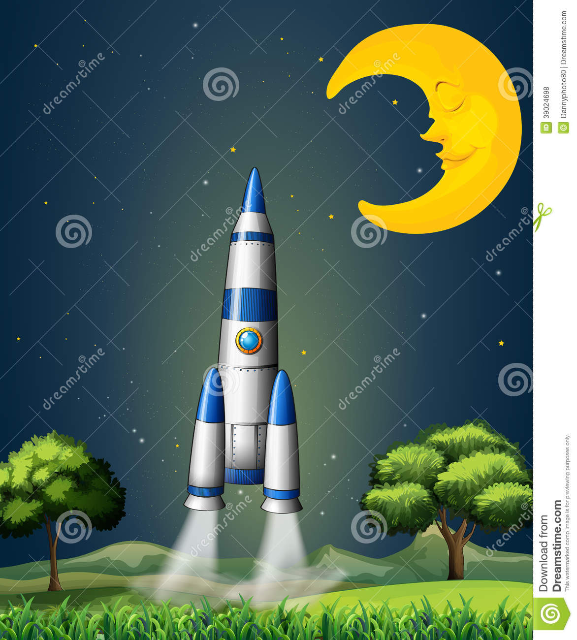 Rockets To The Moon: A Rocket Going To The Sky With A Sleeping Moon Stock