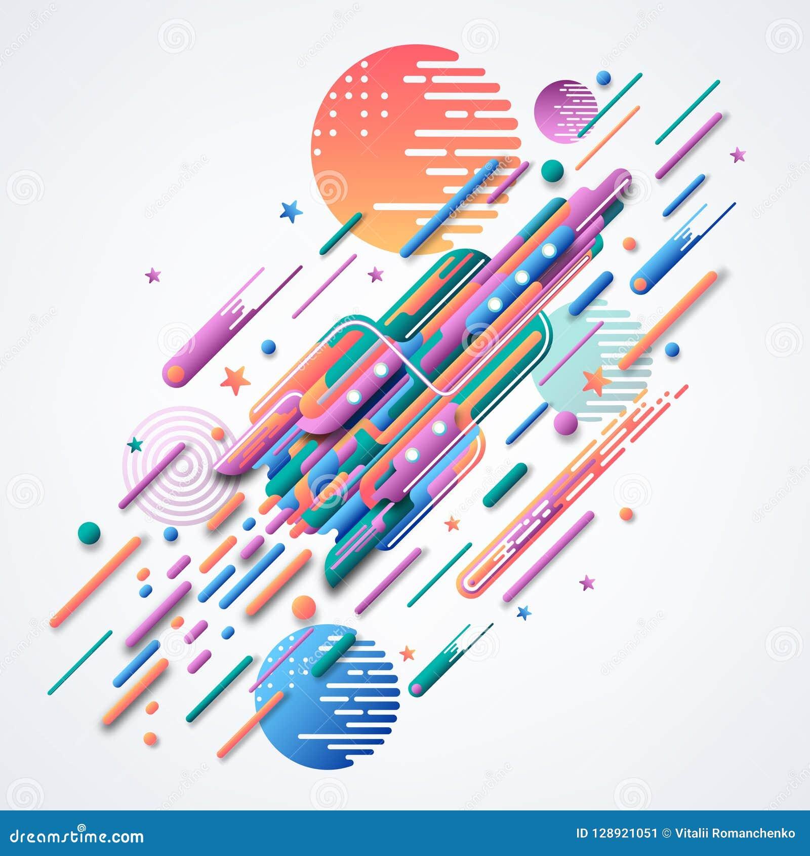 Rocket Imagen futurista del vector Imagen abstracta 3D de un cohete Formas geométricas curvadas brillantes