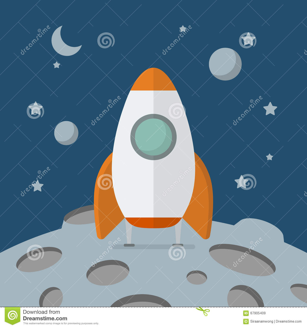 Rocket landed on the moon stock vector. Image of alien ...