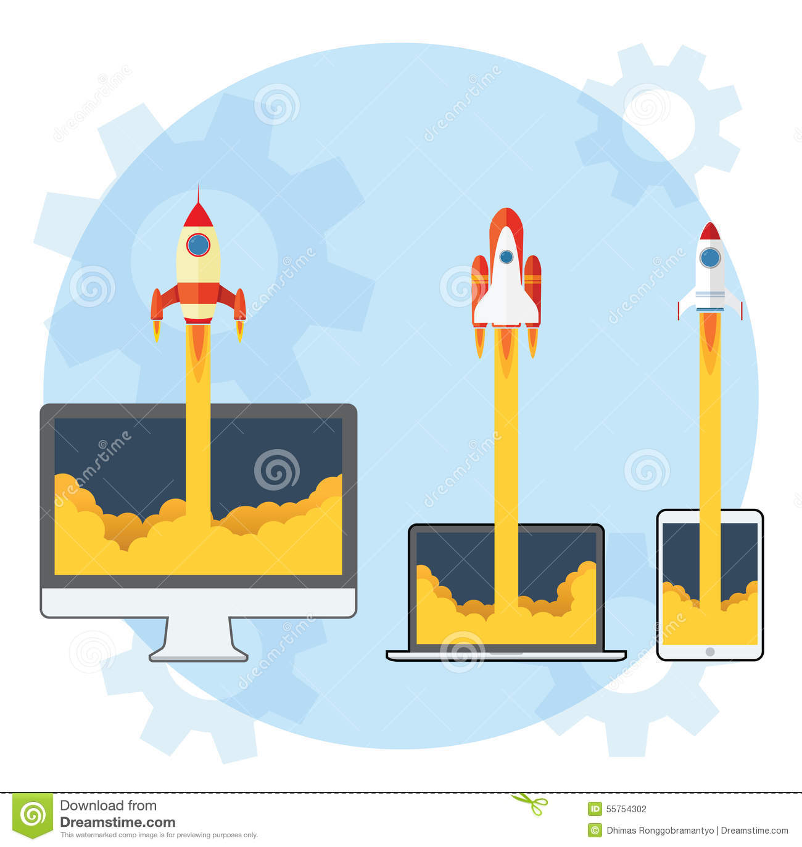 Rocket Launch stock vector  Illustration of blue, success - 55754302