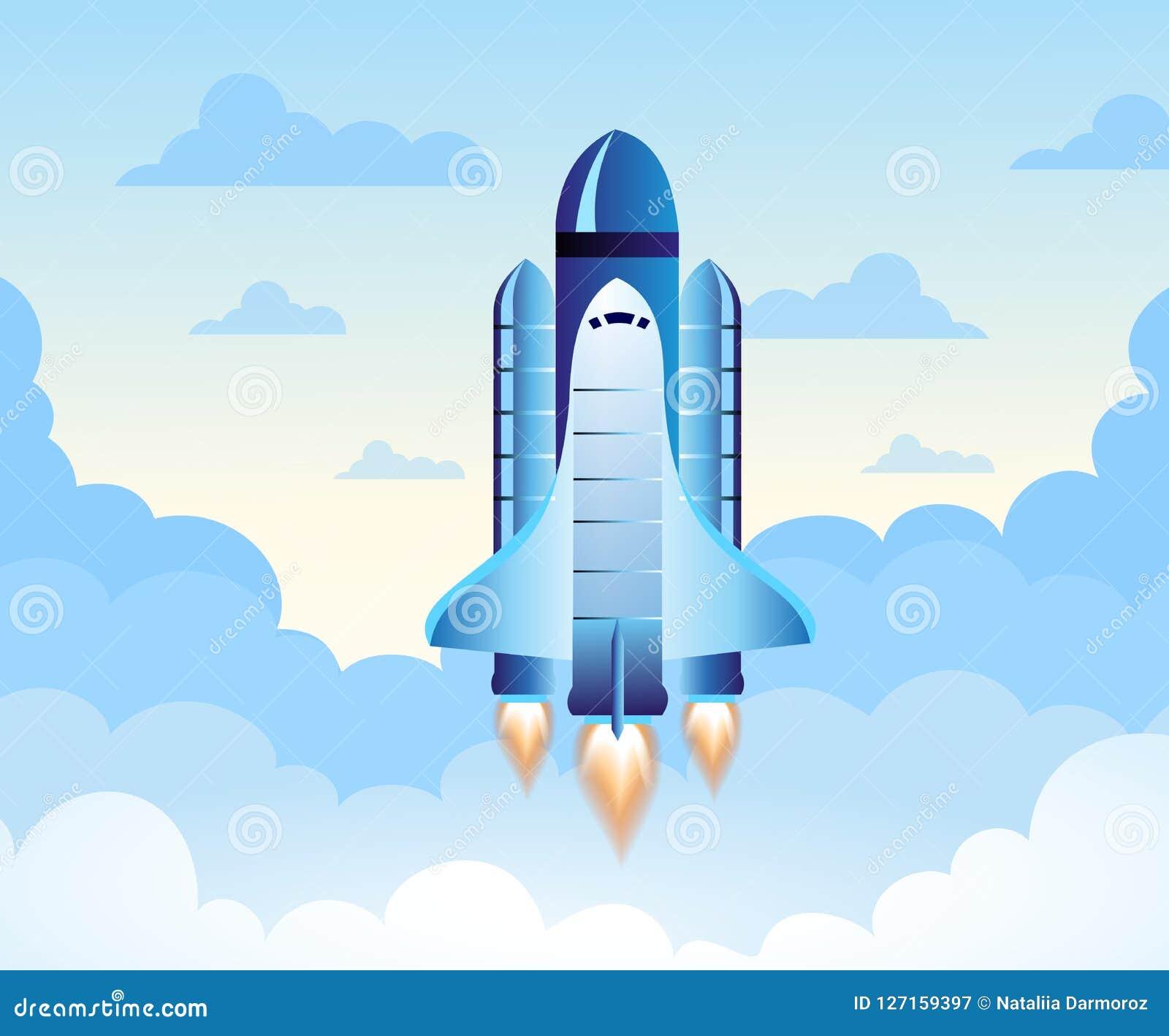 Rocket Launch El nuevo proyecto comienza para arriba concepto en estilo plano del diseño Espacio para el texto Ilustración del ve