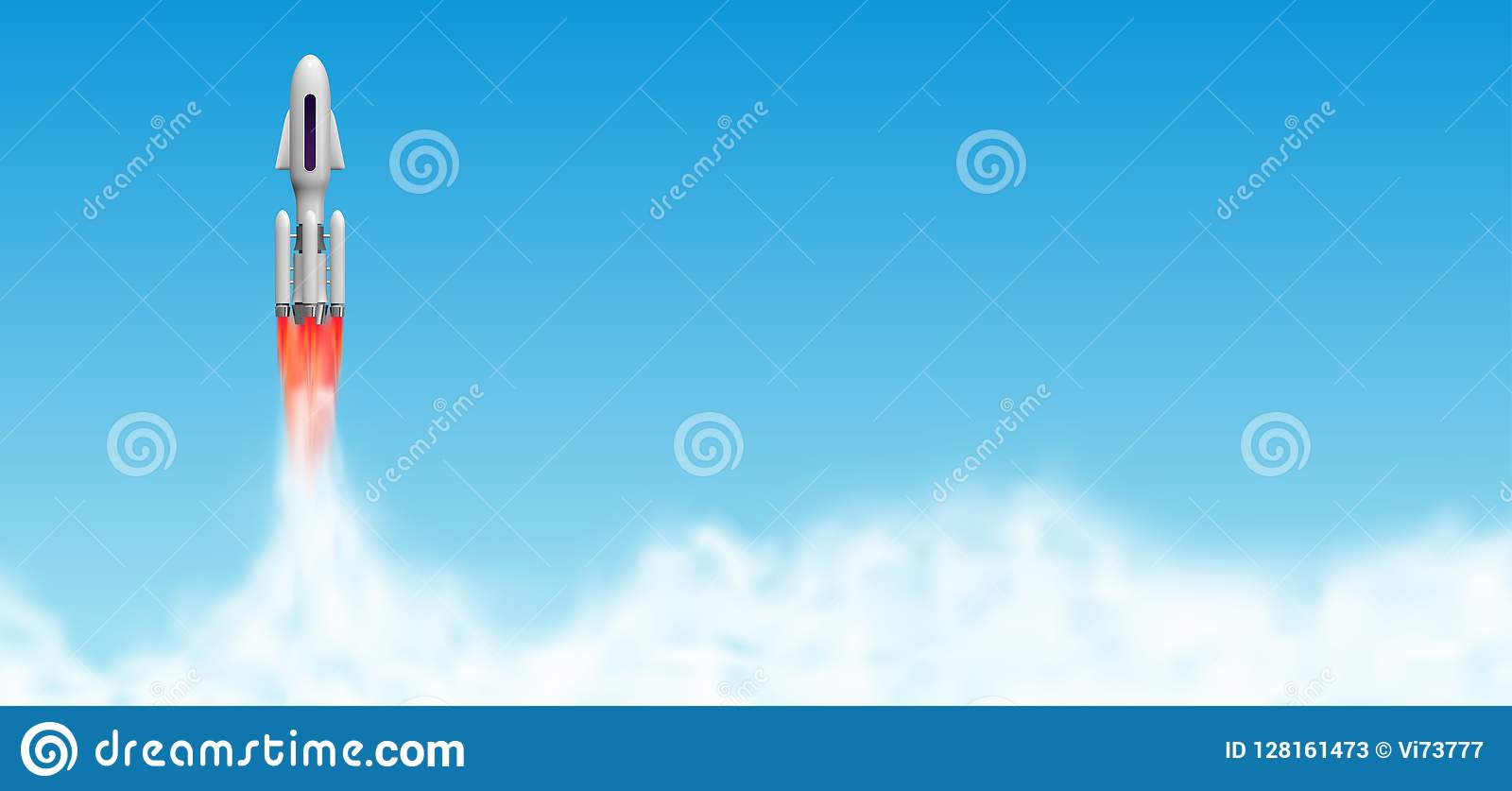 Rocket launch, spaceship start with steam clouds. Shuttle vector illustration with copy space.