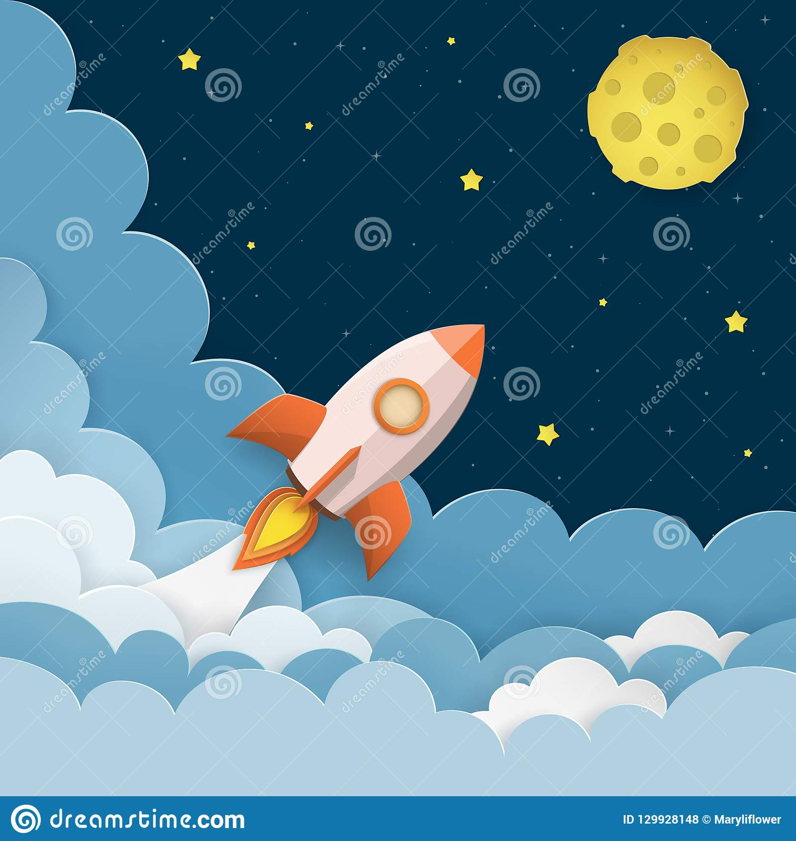 Rockets To The Moon: Spaceship Fly To The Moon Cartoon Vector