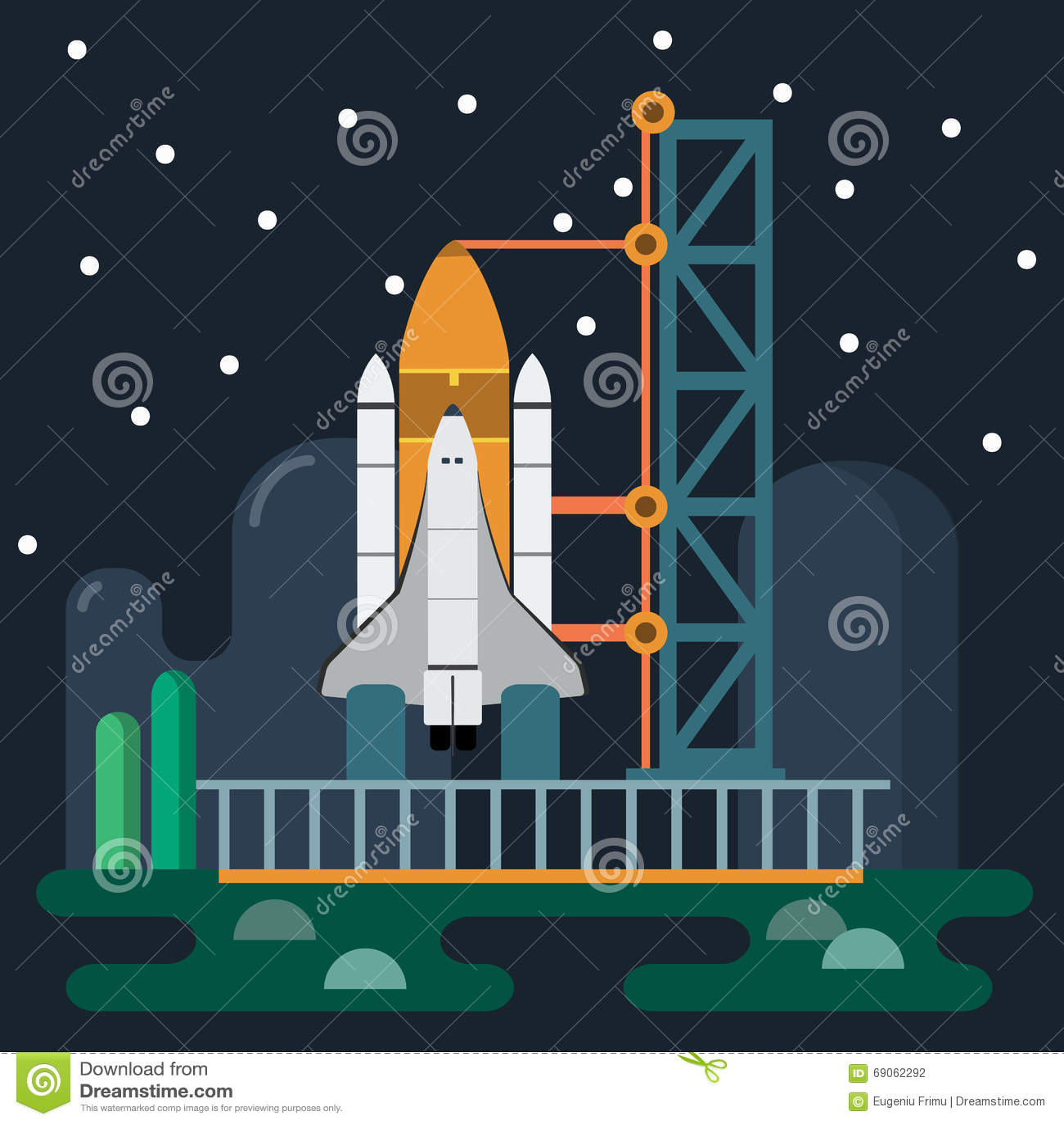 Rocket Before Launch Vector Illustration Stock Vector