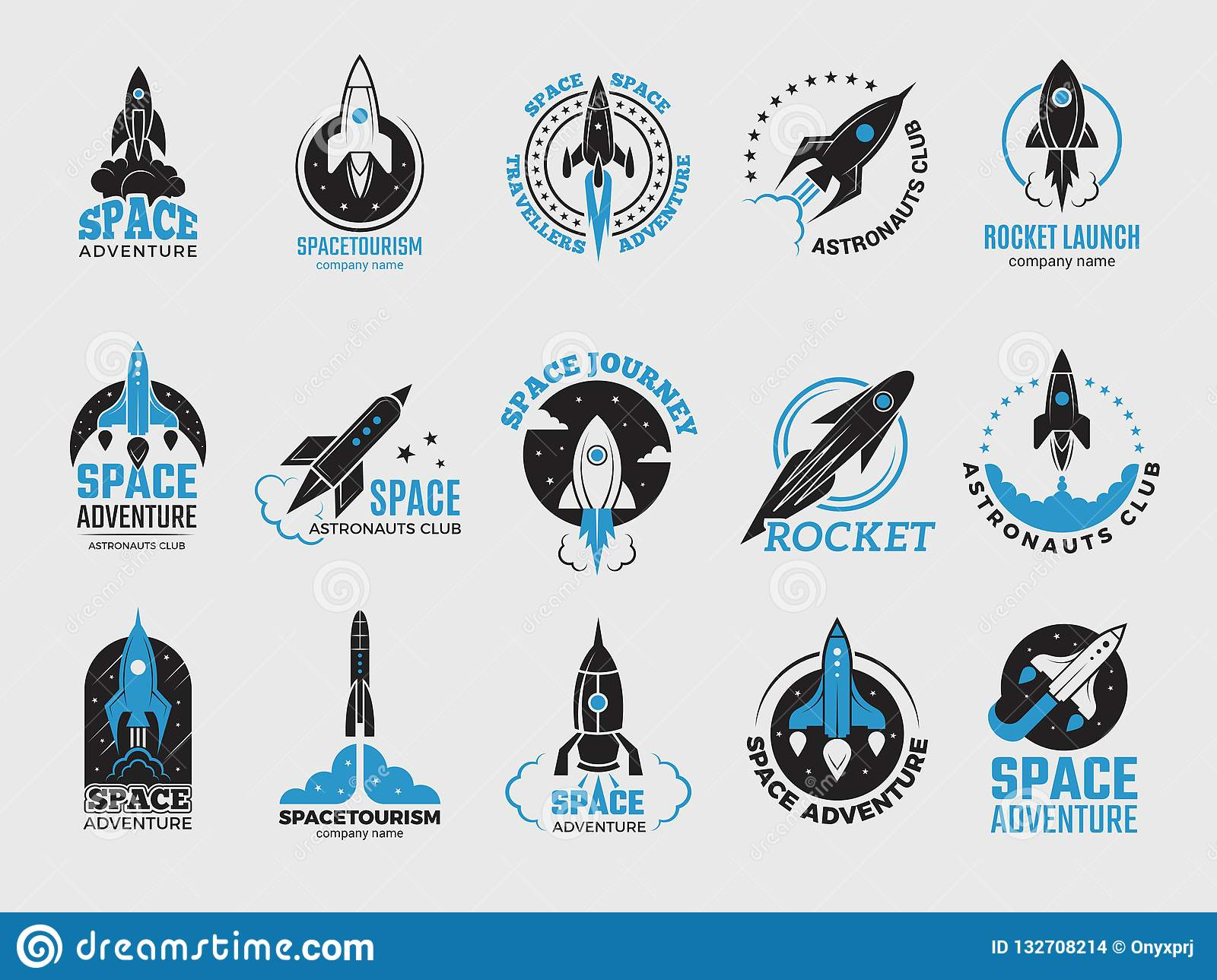 Rocket logo. Space satelite retro shuttle moon discovery logotypes of observatory vector black badges isolated