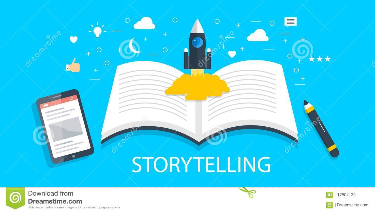 Storytelling - brand story - creative content development - new idea - content writing concept. Flat design banner.