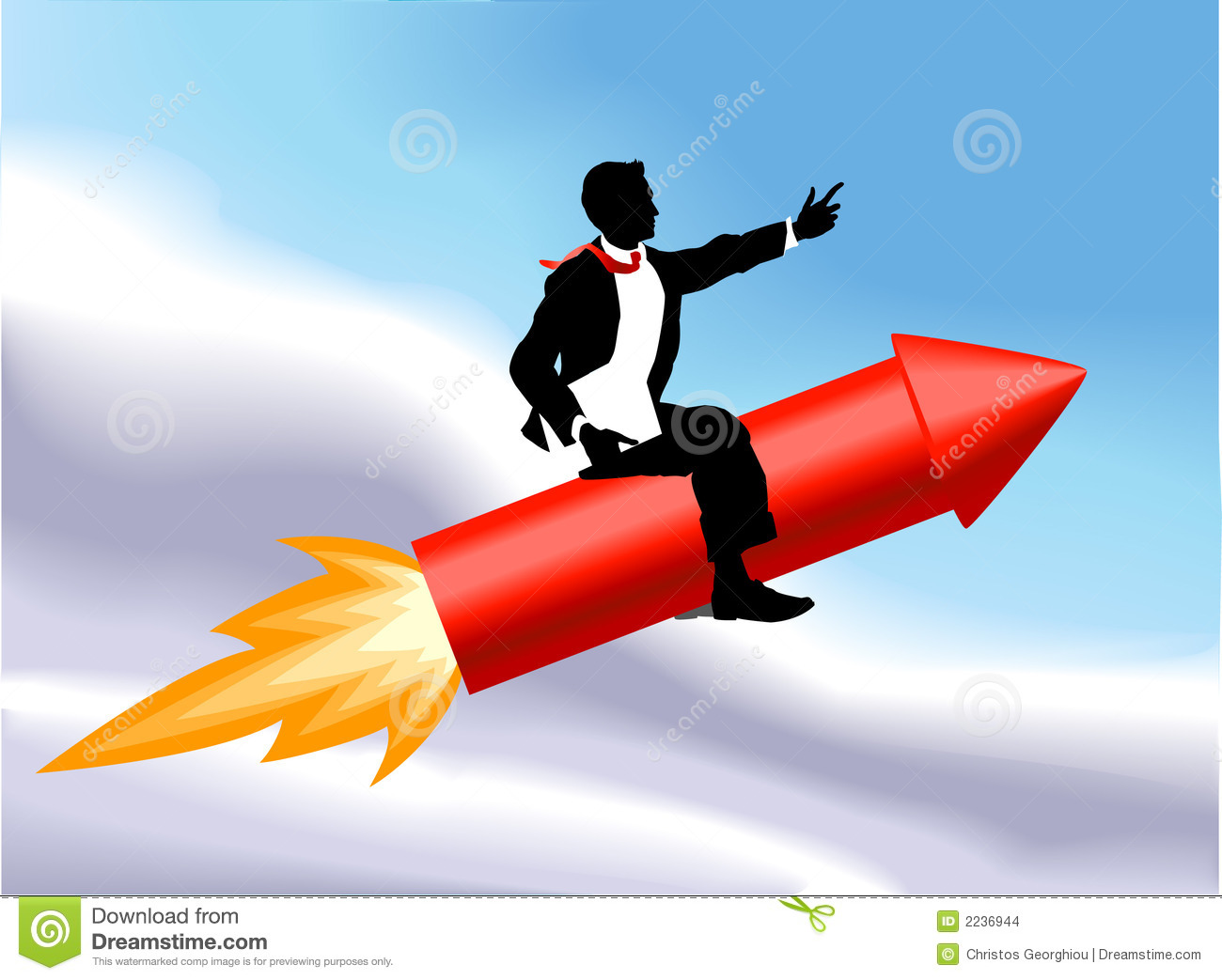 business man sitting astride a rocket and flying through the air. No ...