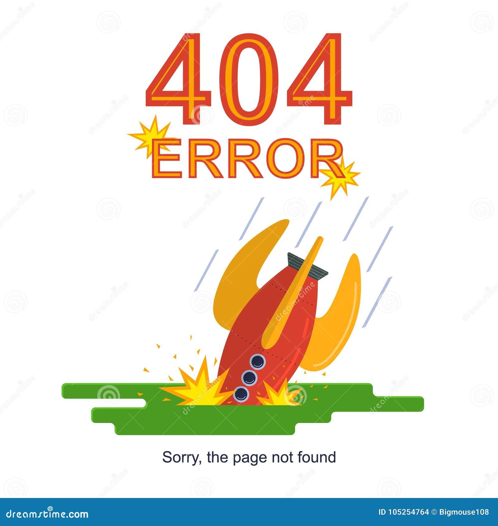 Rocket Missile Crashed Error Not encontrou o cartão do conceito Vetor