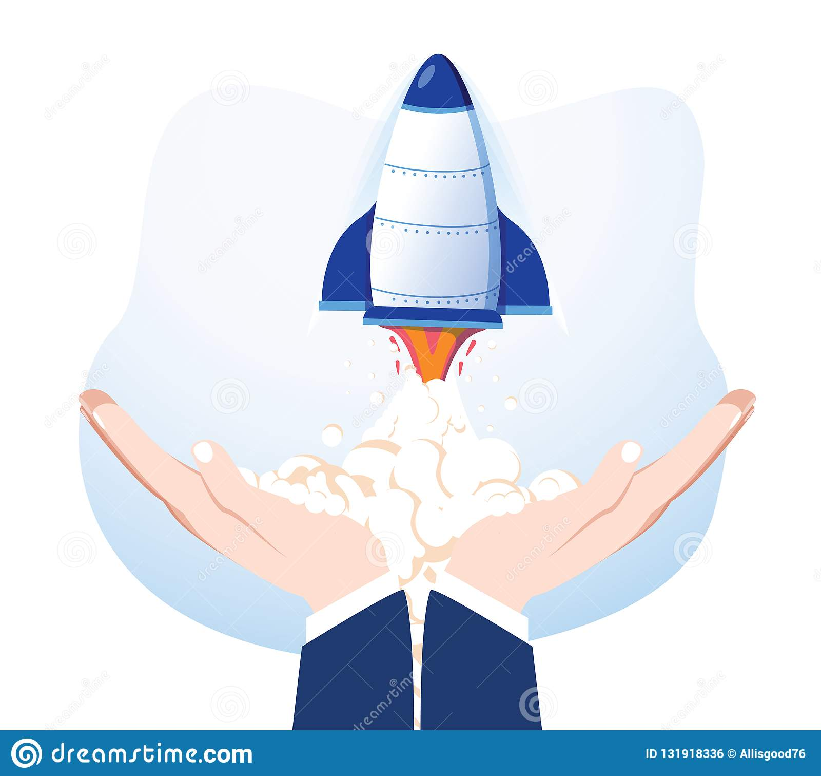 Rocket nas mãos isoladas no fundo Nave espacial do lançamento Produto de lançamento do negócio, desenvolvimento de projeto Comece