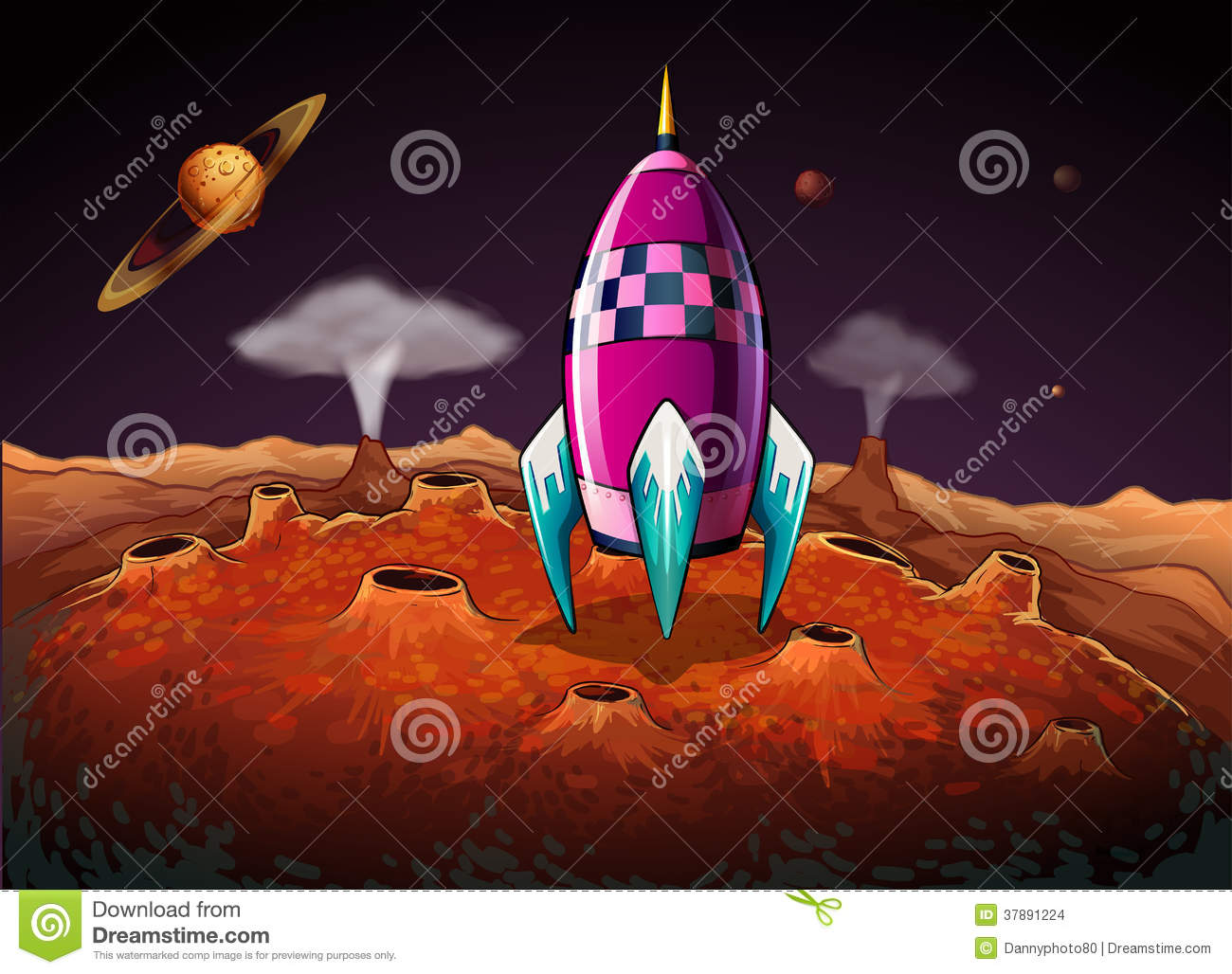 A rocket at the outerspace near the planets