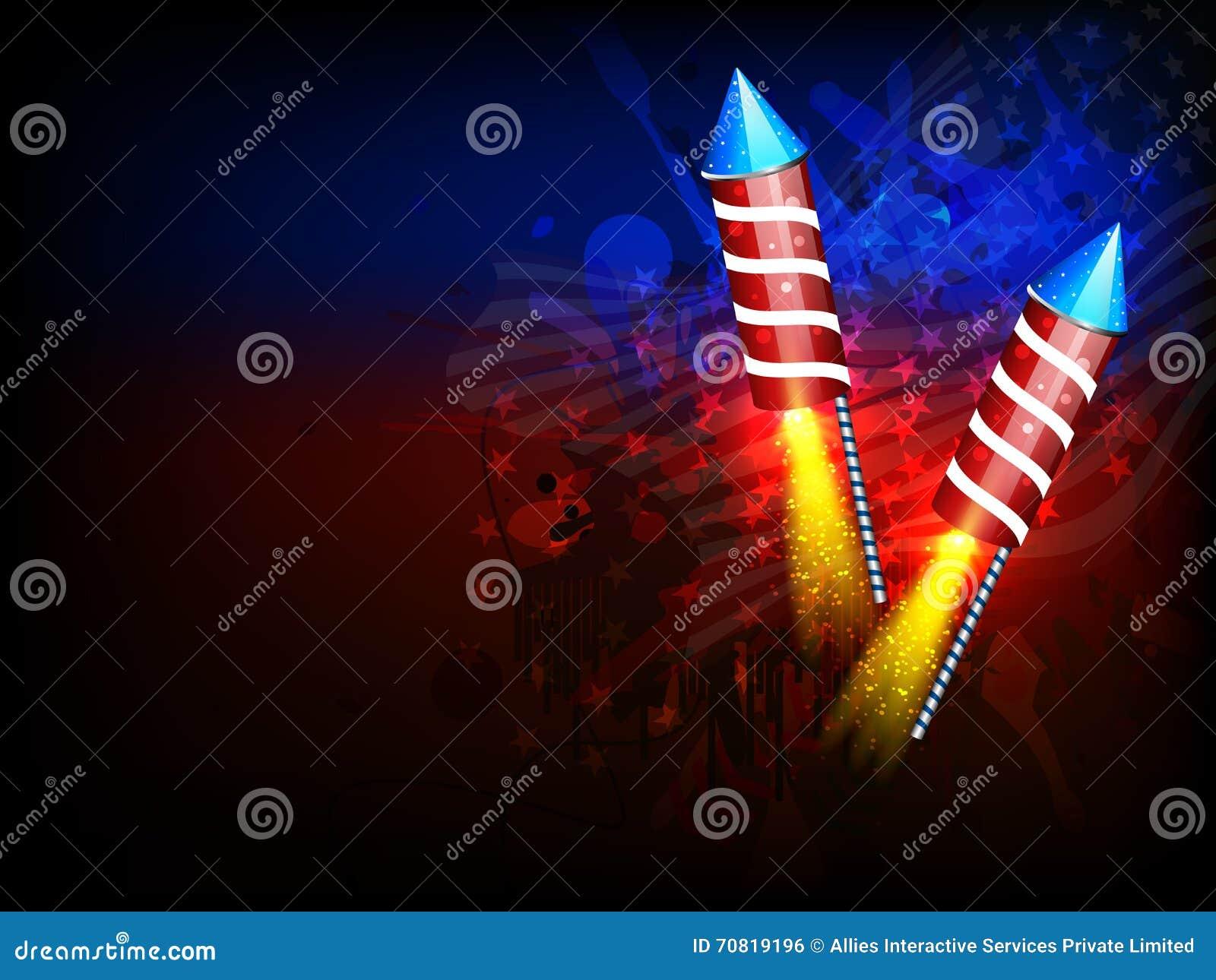Rocket Que Brilla Intensamente Para El Día De La Independencia ...