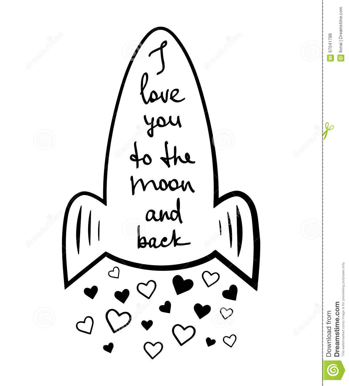 Rocket With Quote Lettering On White Background.