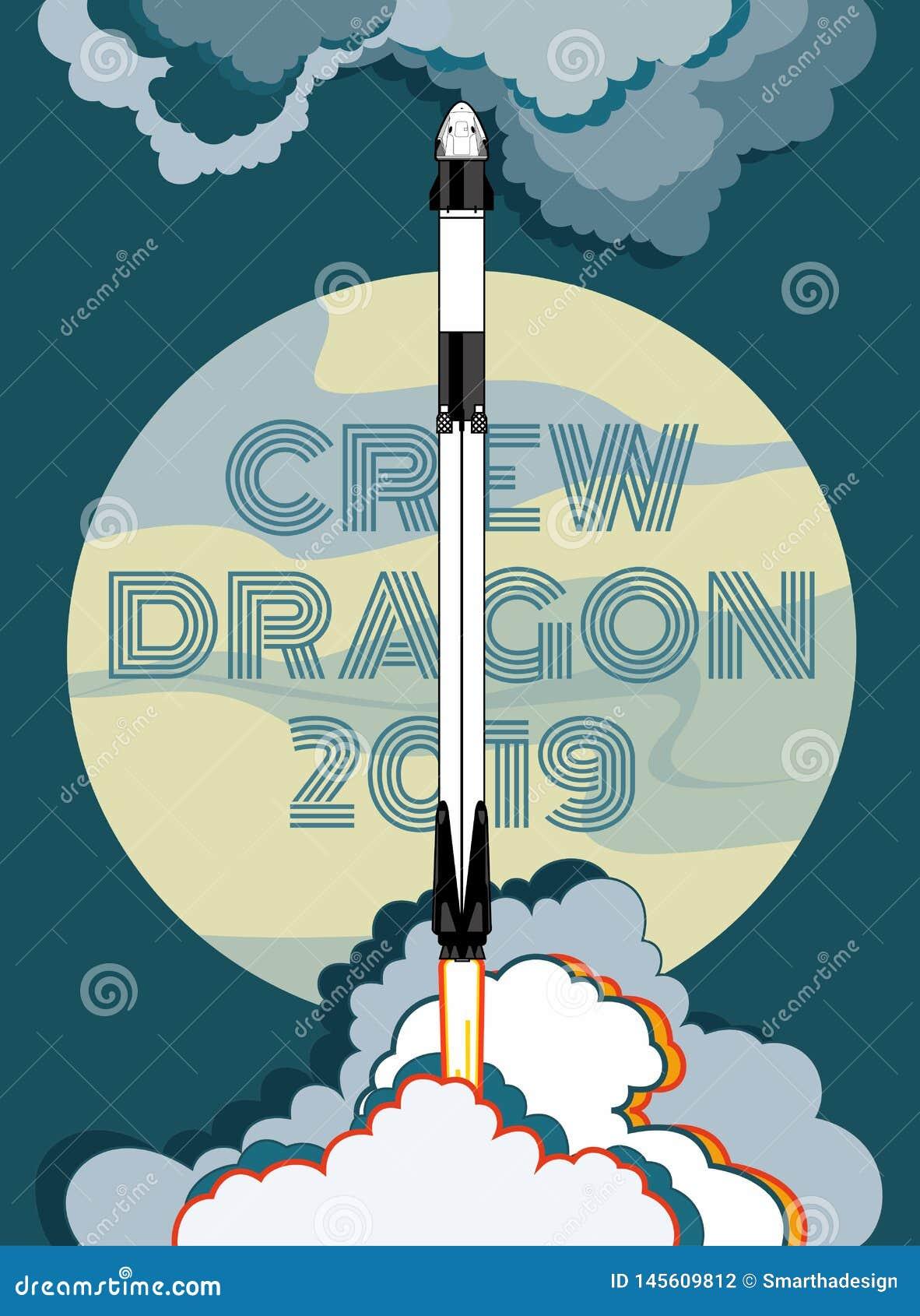 Rocket, Raumhandwerksvektor M?rz 2019, Raketenstart 2 Vektorplakatraumschiff, -mond, -flamme und -dampf auf blauem Hintergrund