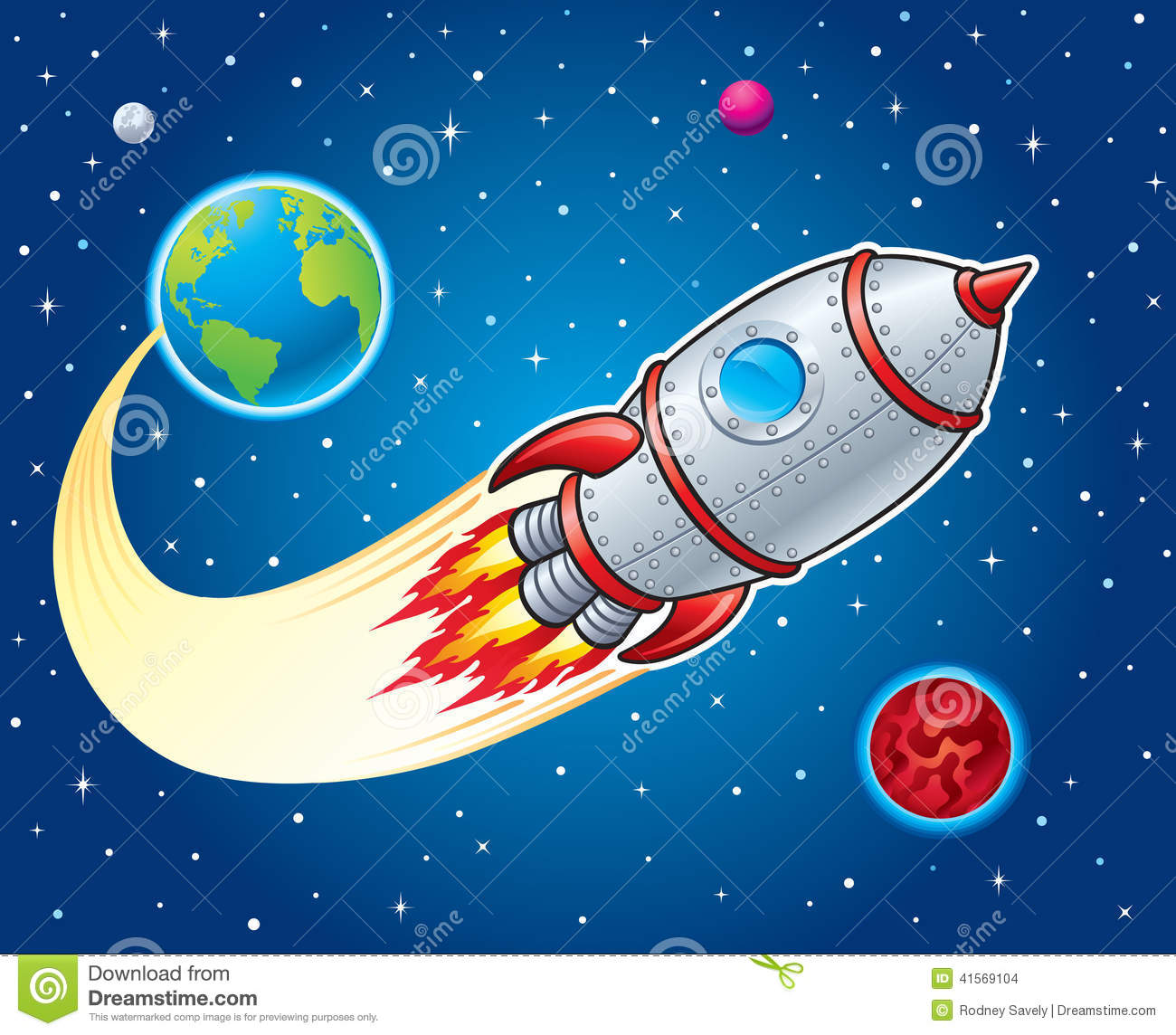 Rocket ship blasting from earth ilustra o stock imagem for Space blast 3d
