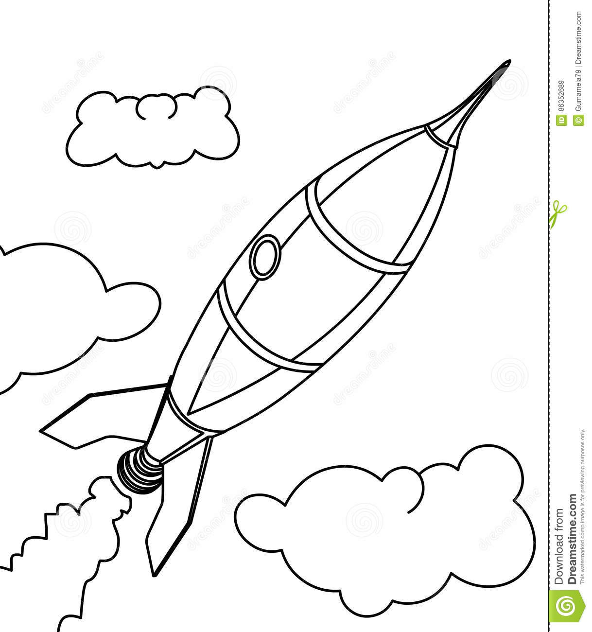 Rocket ship coloring page stock illustration. Illustration of ...