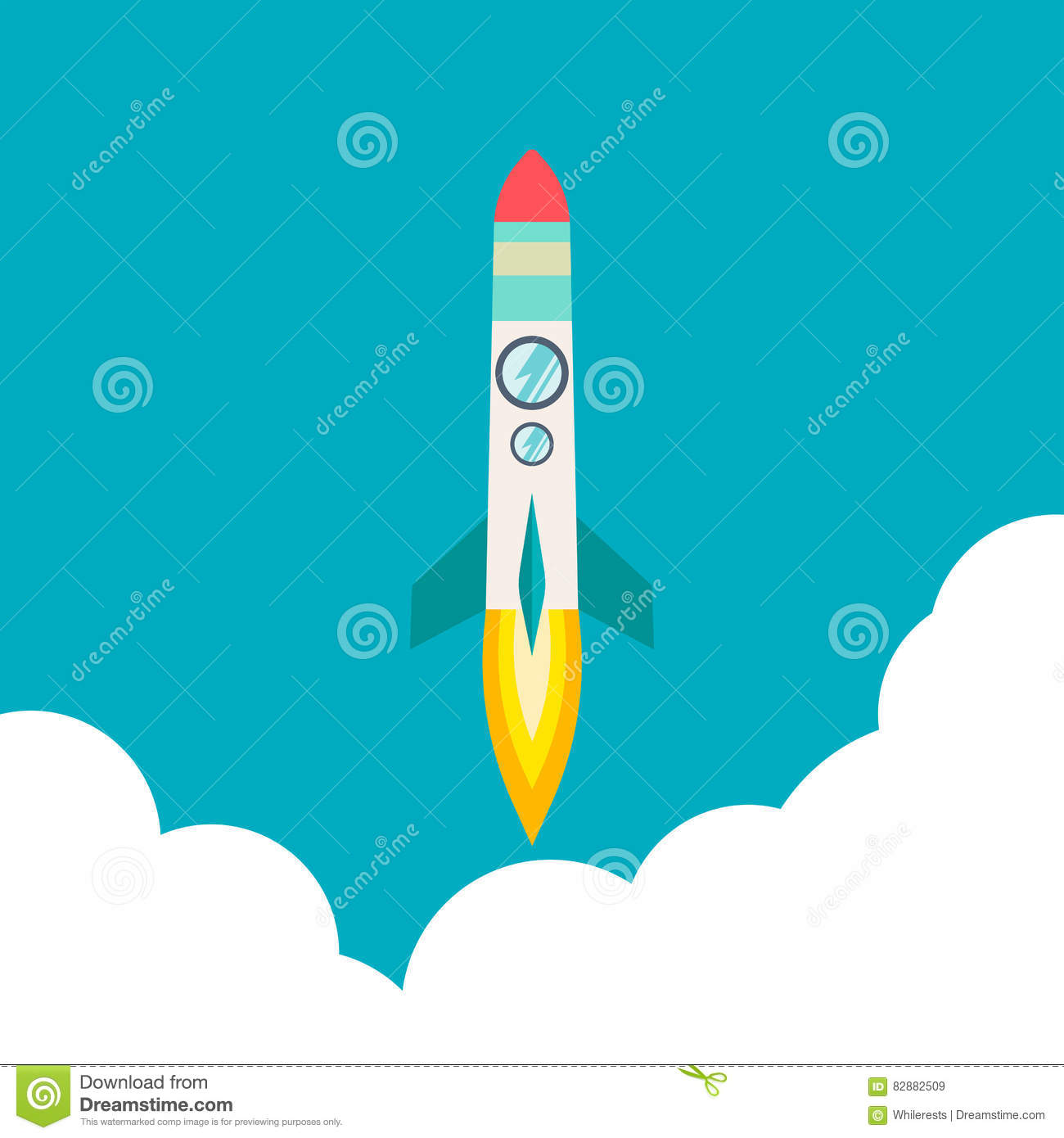 Rocket ship in a flat style.Vector illustration with 3d flying rocket.Space travel to the moon.Space rocket launch