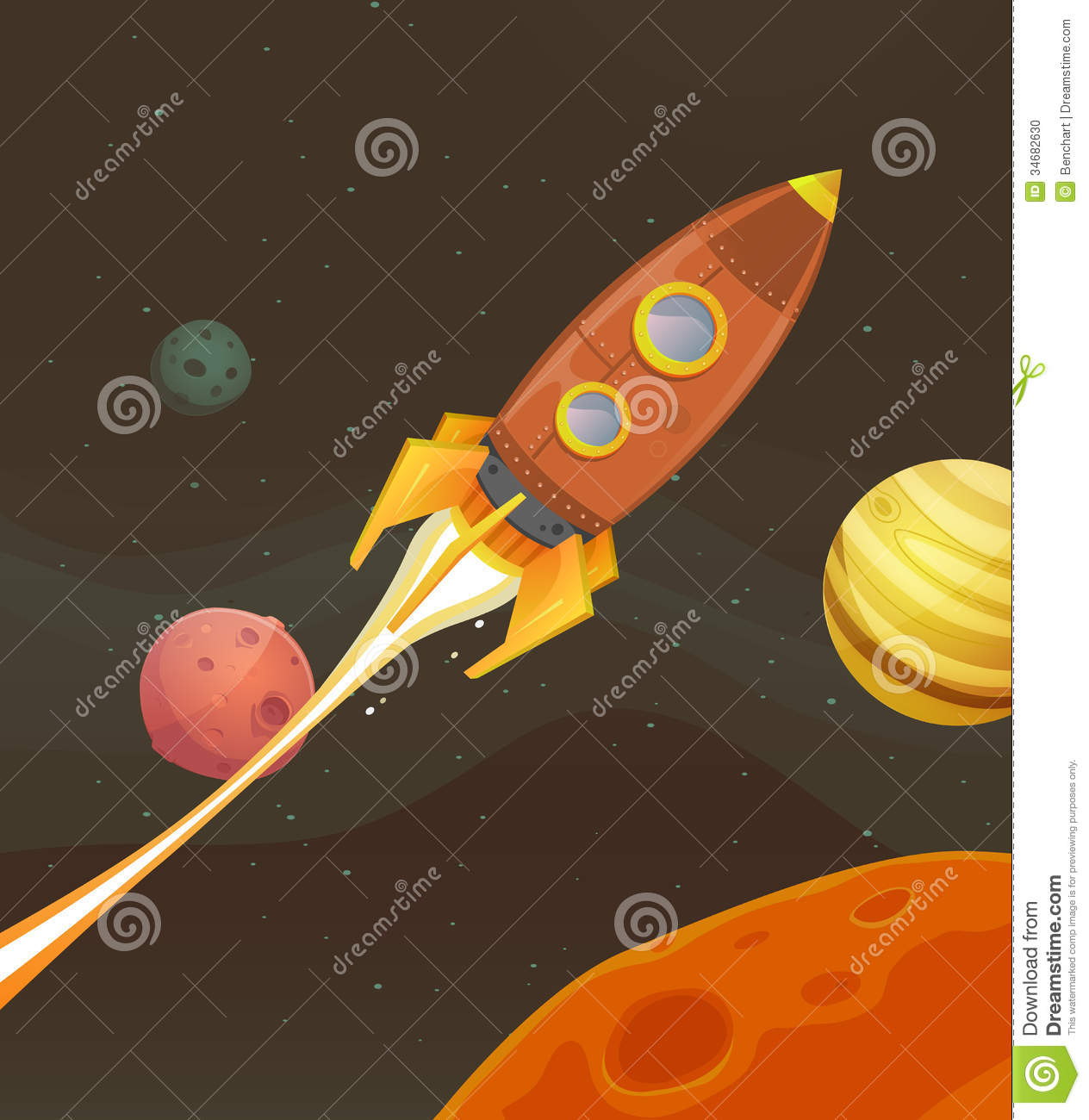 Rocket ship flying through space stock vector for Flying spaces
