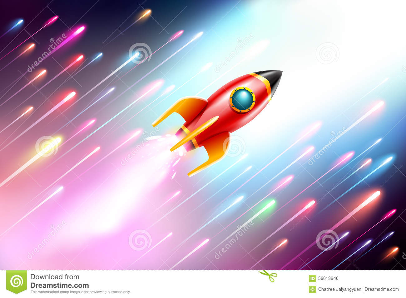 Flying space rocket vector illustration cartoondealer for Flying spaces