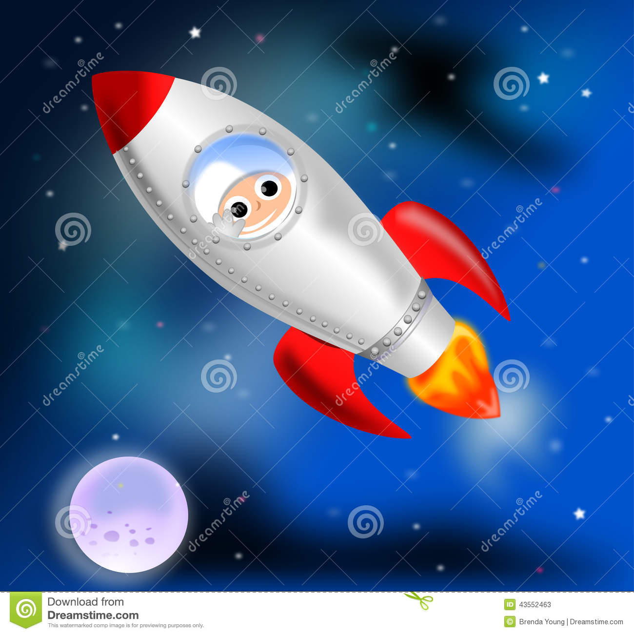 Rocket ship stock illustration image 43552463 for Flying spaces