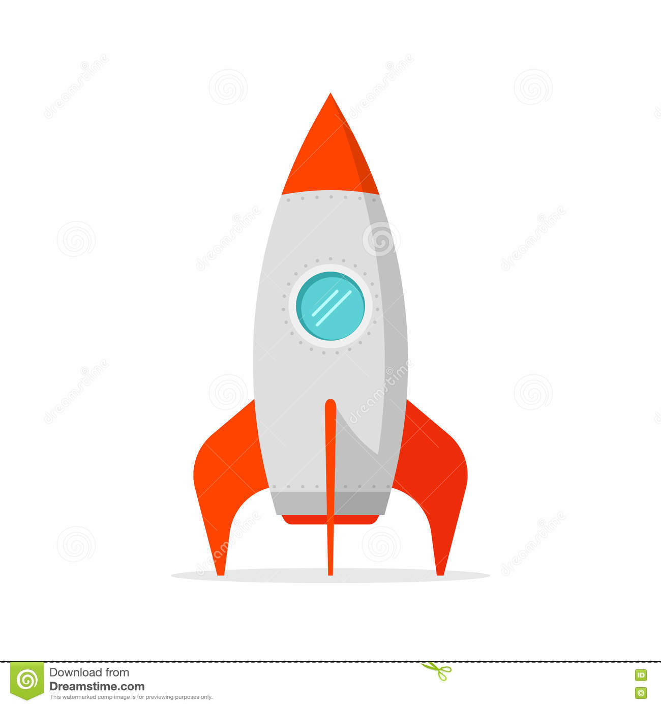 Rocket ship vector on white background standing