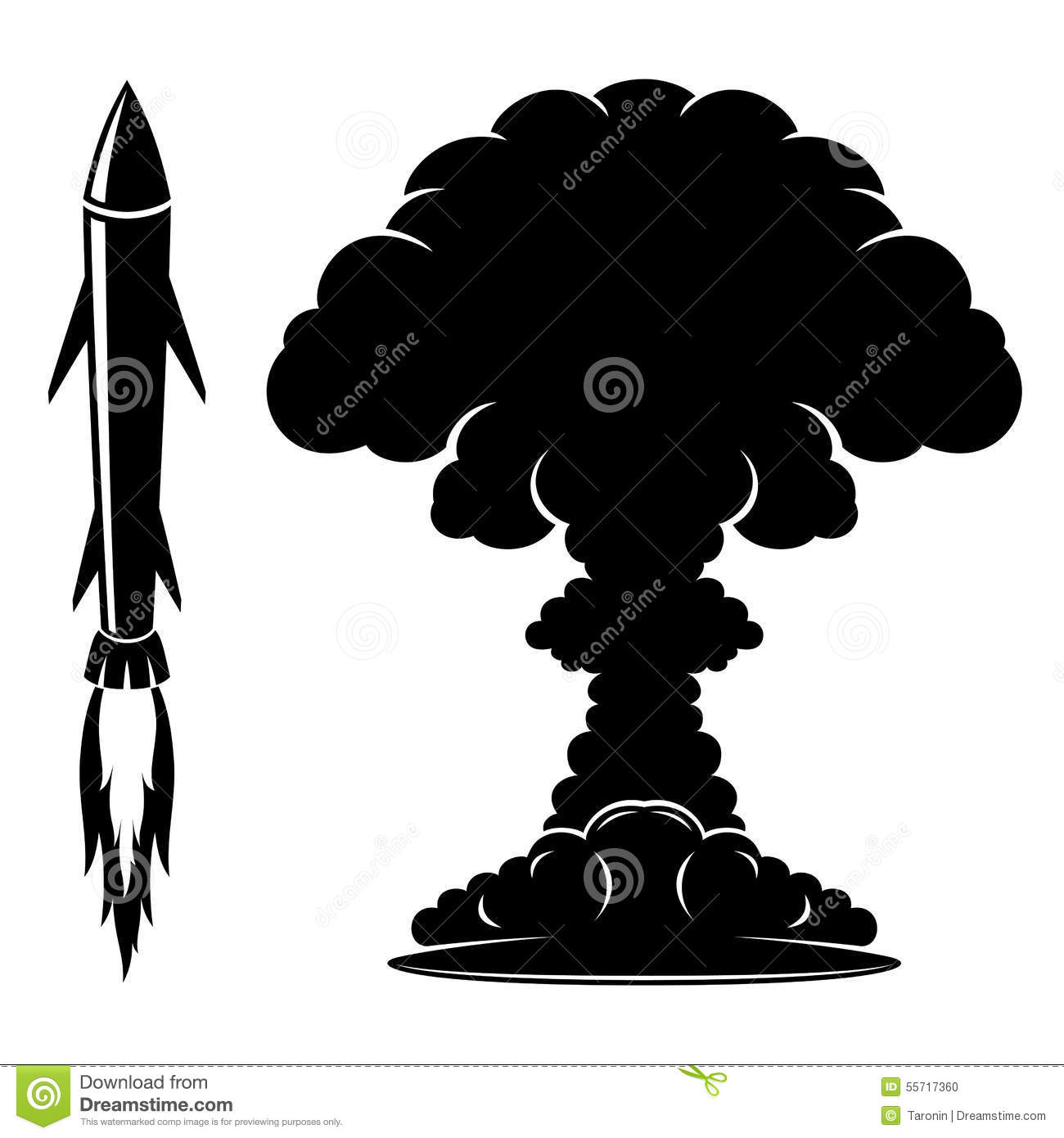 Rocket Sign And Explosion. Stock Vector - Image: 55717360