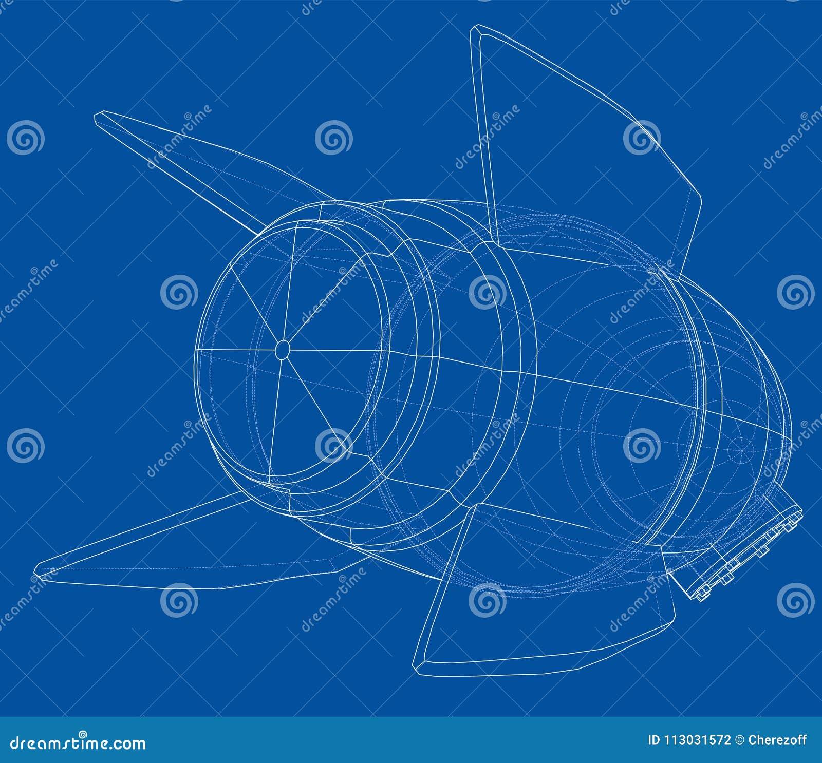 Rocket Sketch Representación del vector de 3d