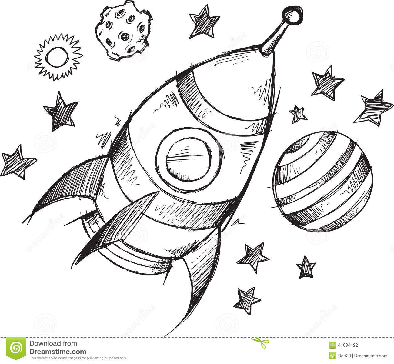 Rocket Space Doodle Sketch Vector Stock Image 41634122