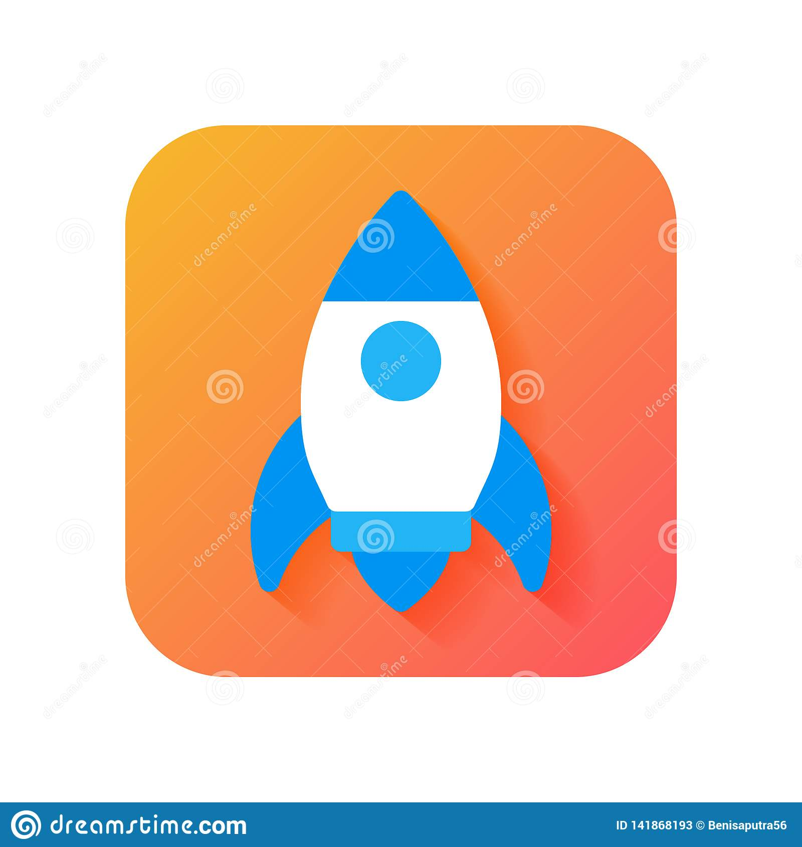 Rocket, Start up, Launcher icon. Modern Icon in Flat style on Gradient background. Vector icon for any purposes