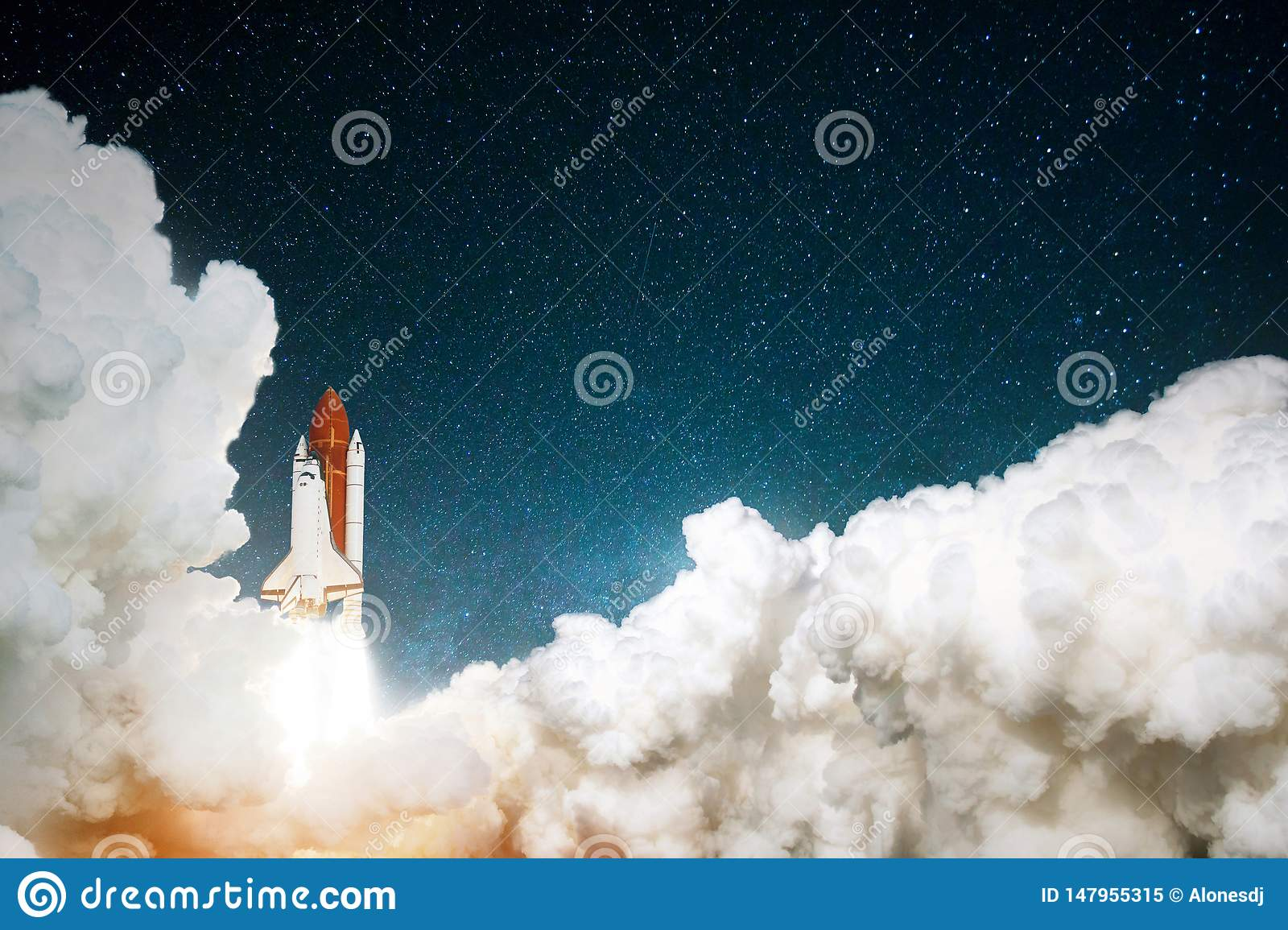 Rocket takes off in the starry sky. Spaceship begins the mission. Travel to mars concept. Space shuttle taking off on a mission.