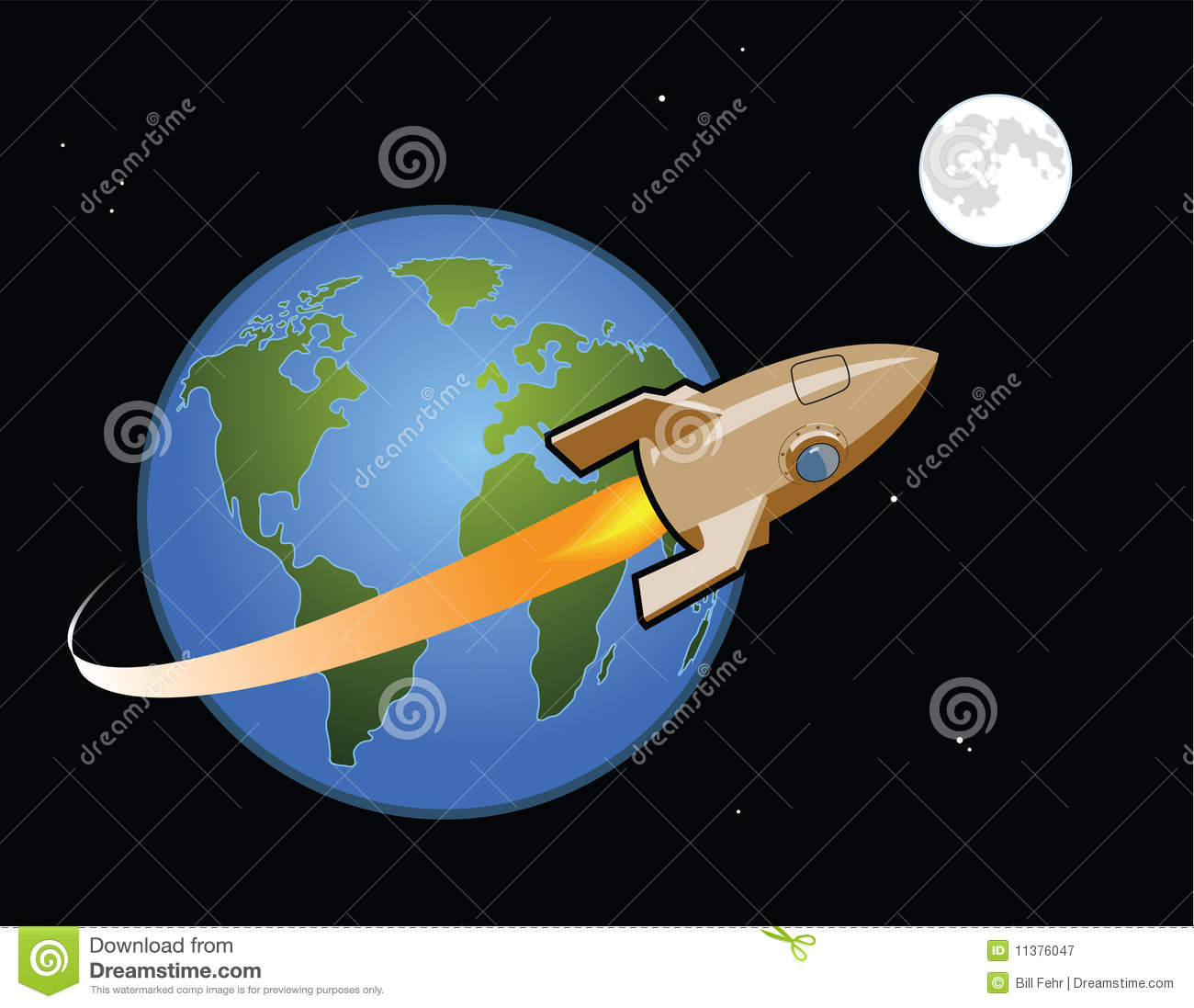 Rocket to the Moon stock vector. Illustration of fuel ...