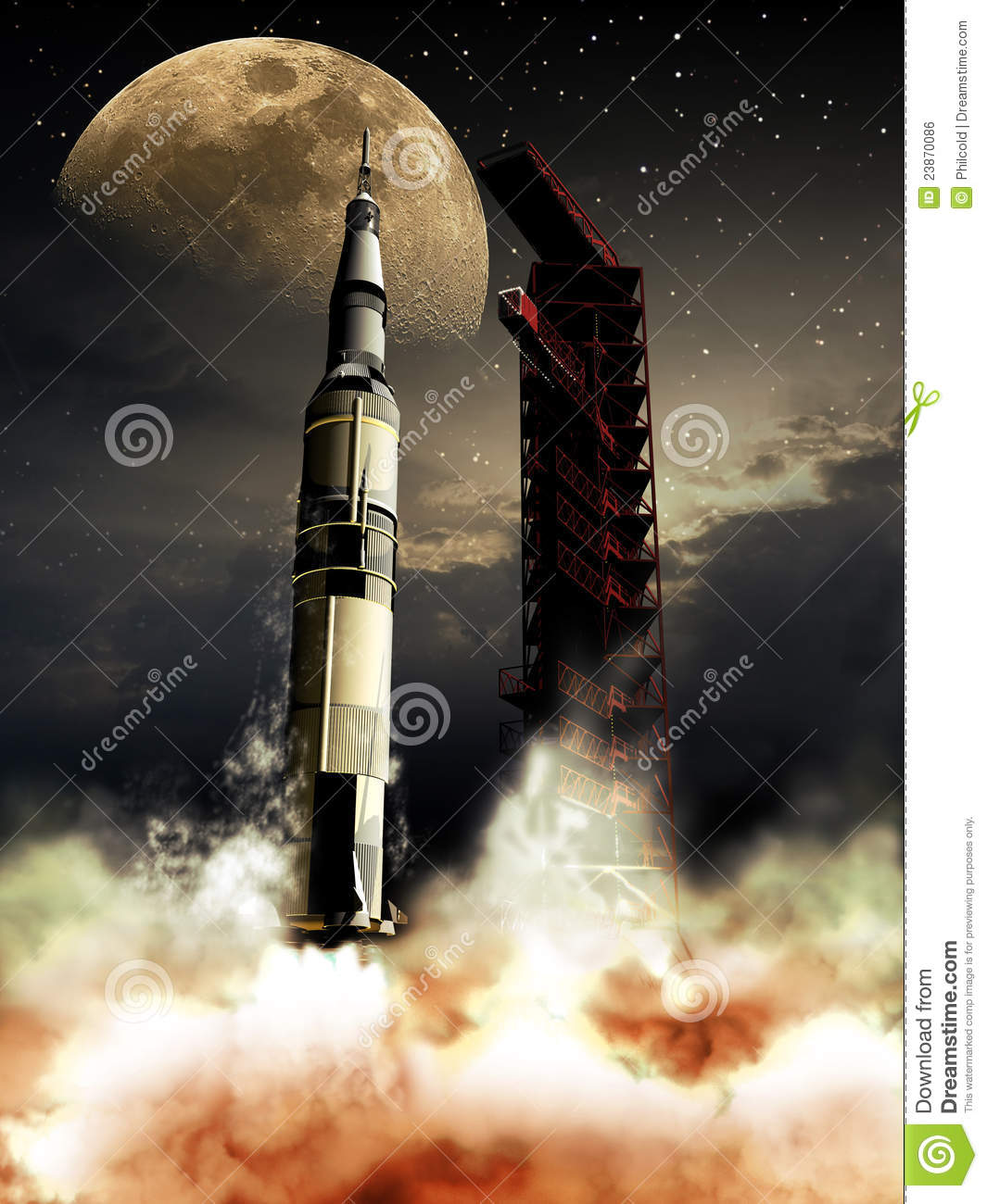 Rocket To The Moon Royalty Free Stock Image Image 23870086