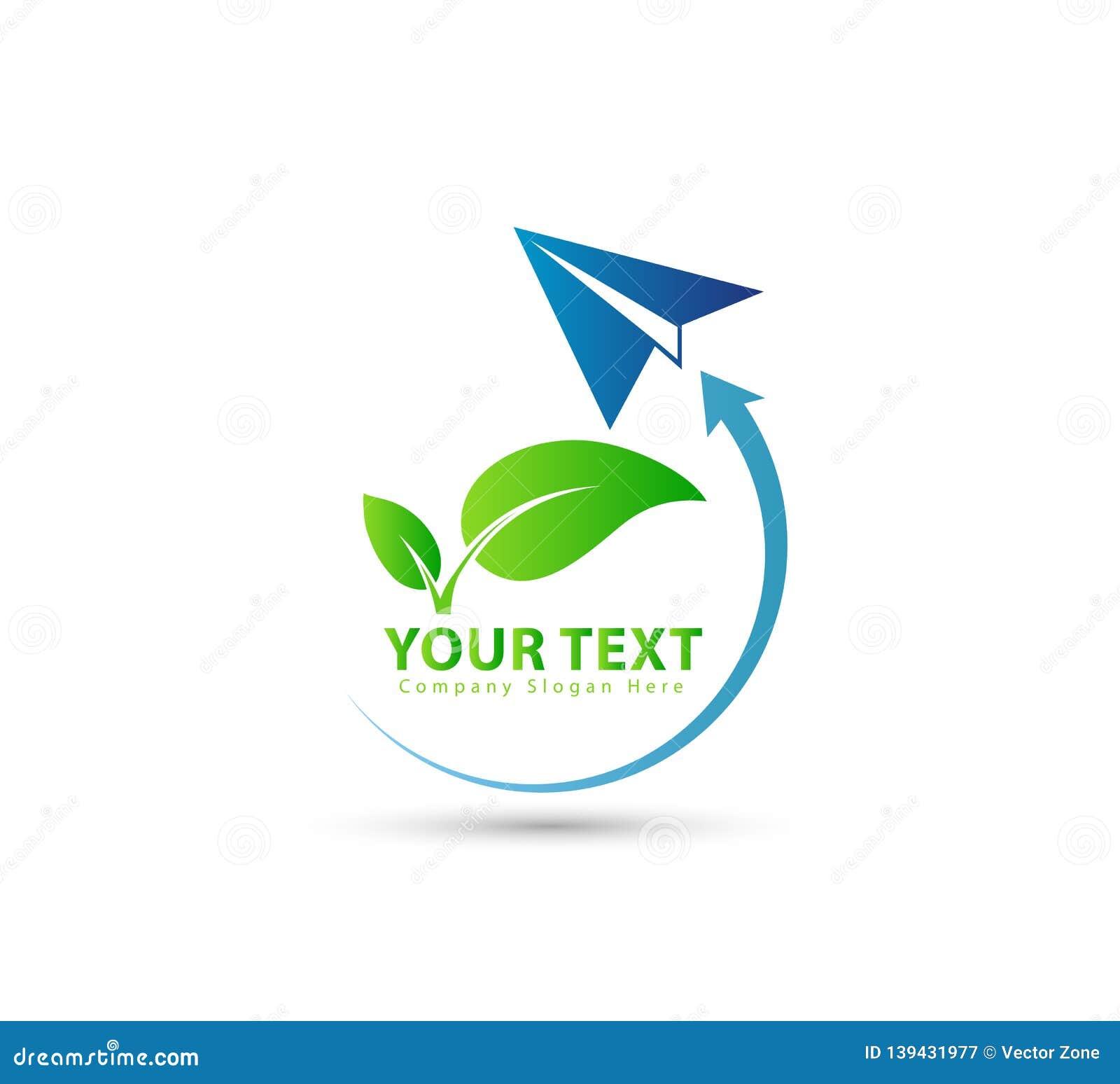 Rocket, transportation, green leaf business logo.