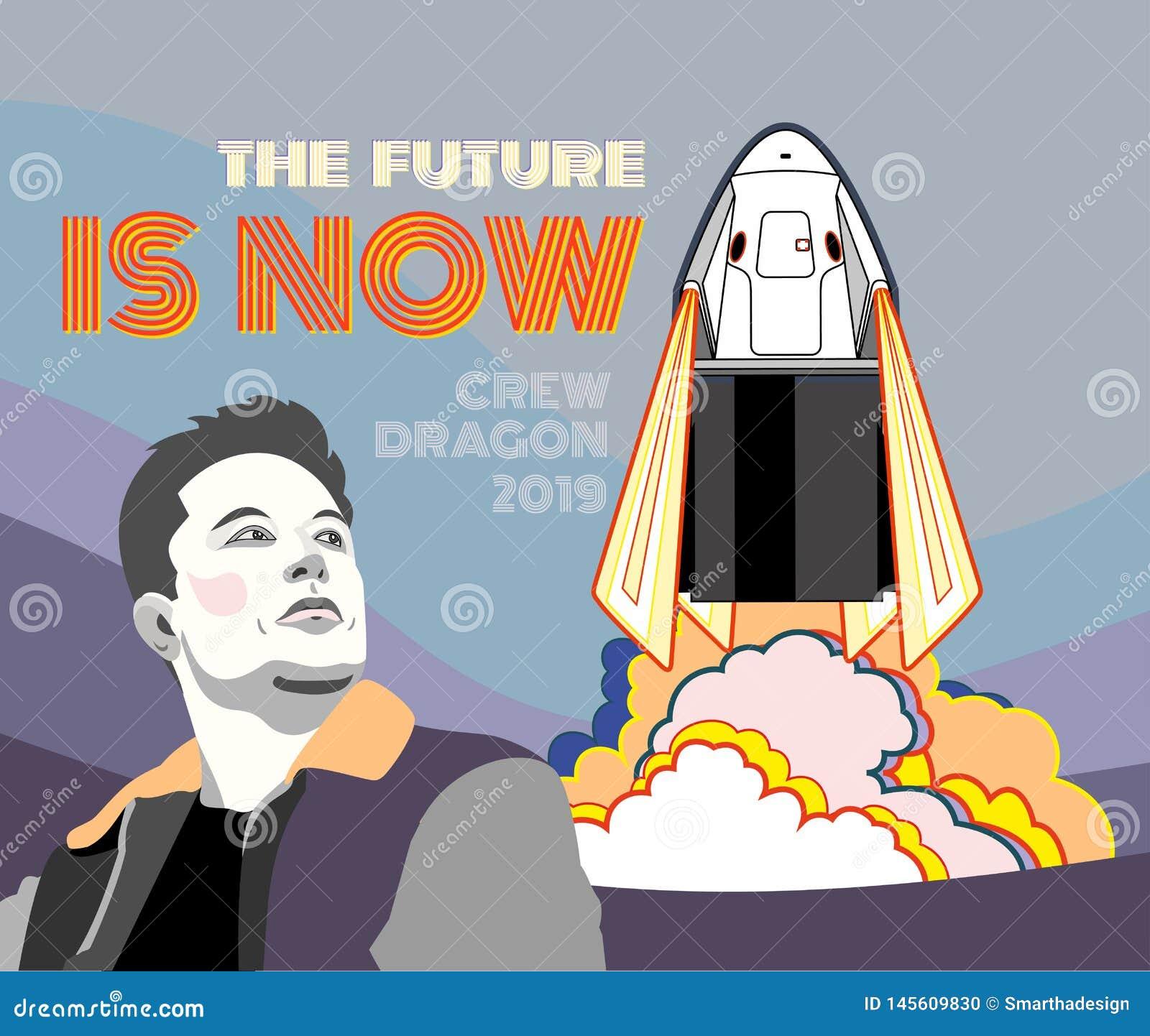 Rocket, vector del arte del espacio El 2019 de marzo, lanzamiento de cohete 2 Nave espacial del cartel del vector, Elon Musk, lla