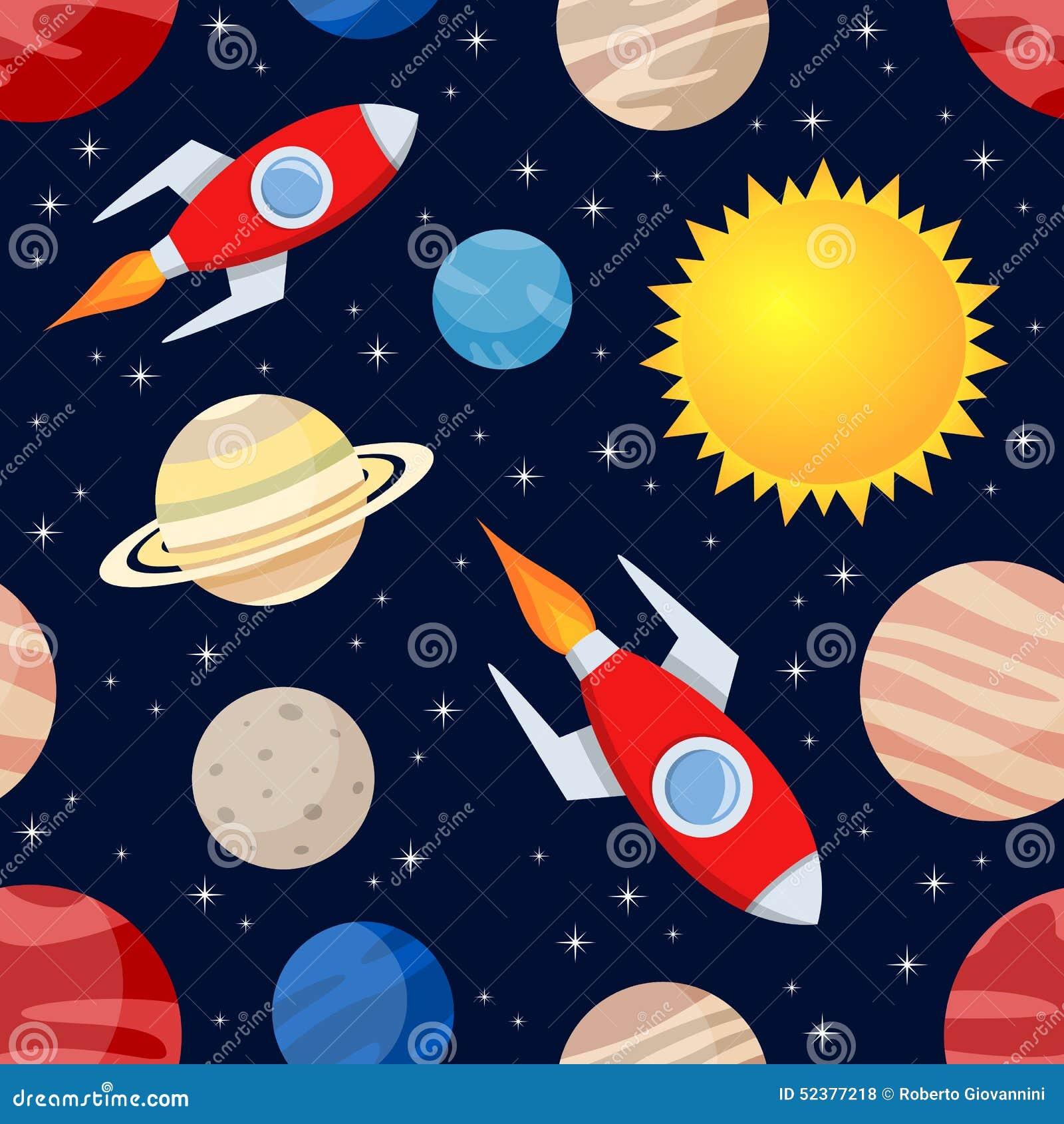 Rockets planets seamless pattern stock vector image - Dibujos infantiles del espacio ...