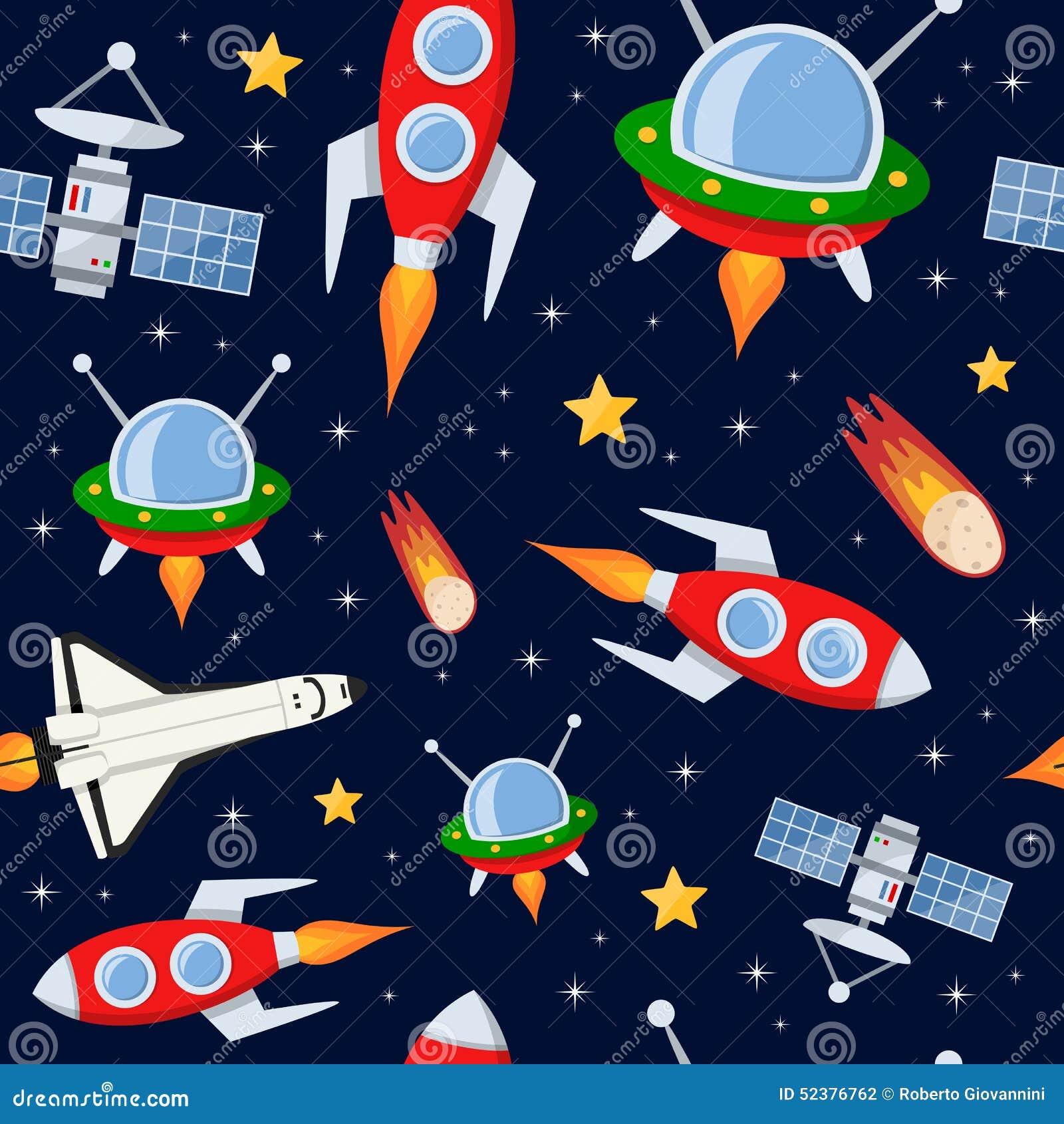 Rockets Satellites Stars Seamless Pattern