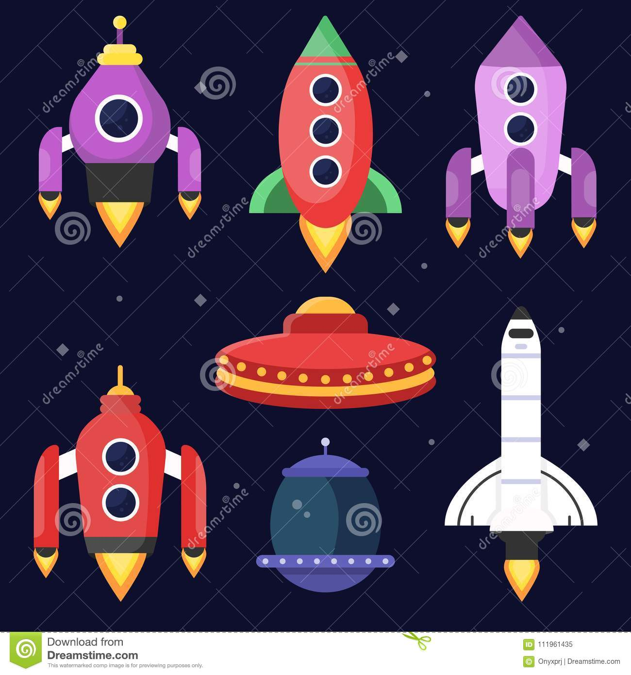 Rockets and space shuttles. Vector illustrations in flat style