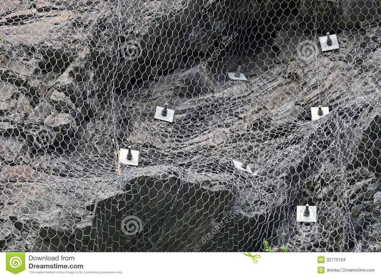 Rockfall Netting Stock Images Image 32770134